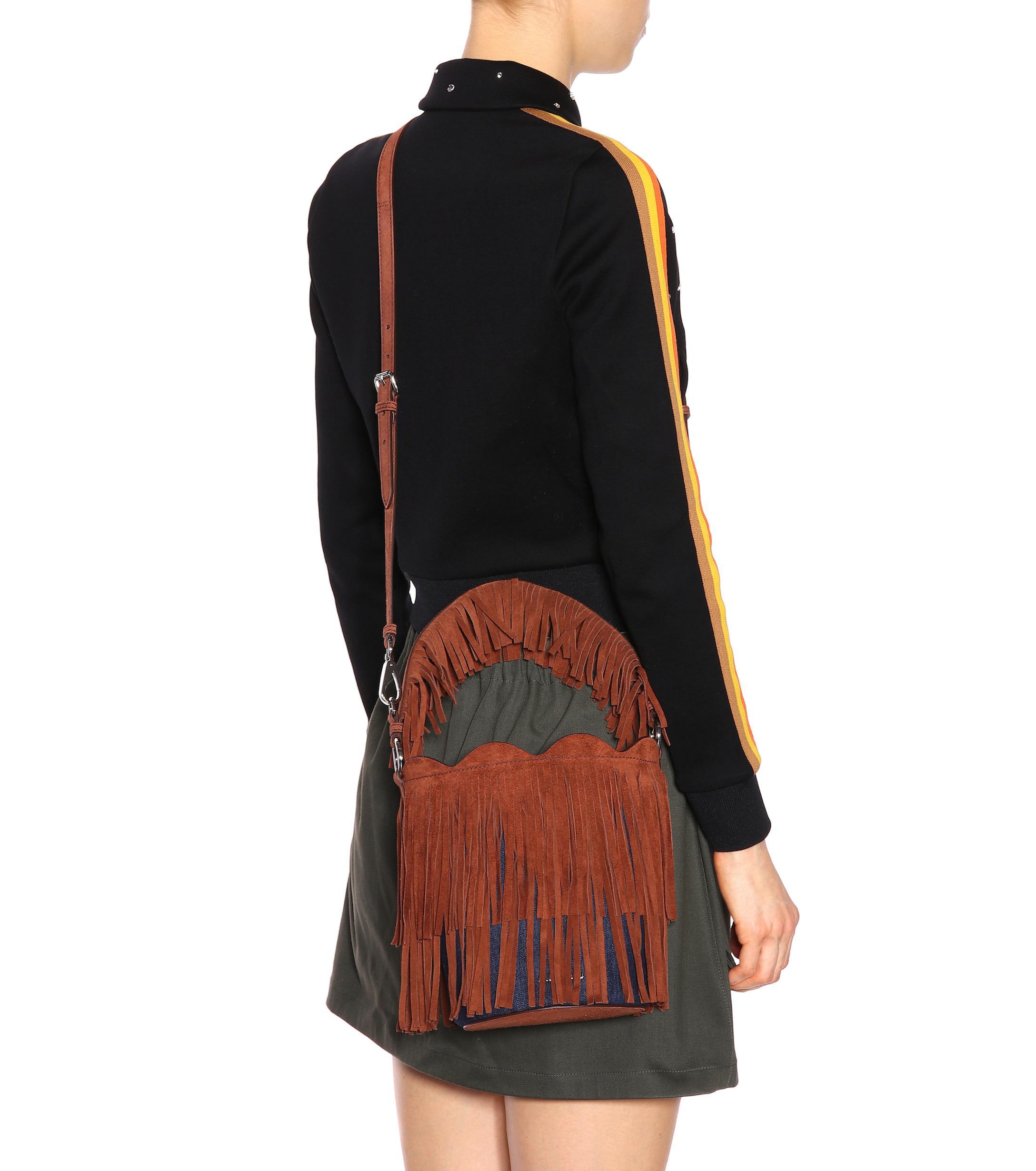 Miu Miu - Multicolor Fringed Suede Bucket Bag - Lyst. View fullscreen c299fe071a958