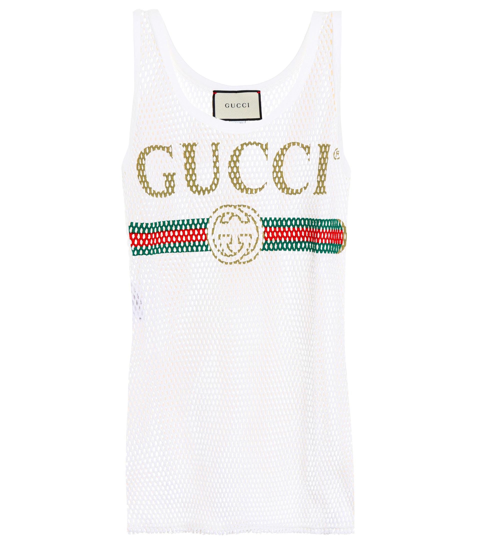0a0c3624db06 Gucci Mesh Cotton Tank Top in White - Lyst
