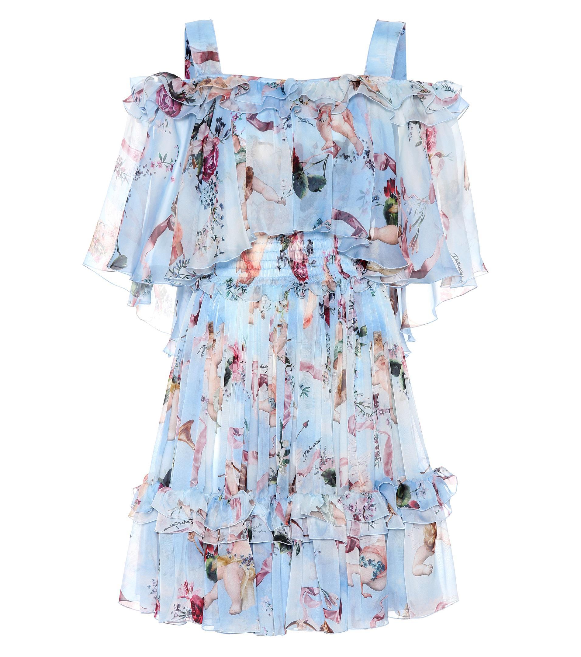 dc75eb11 Dolce & Gabbana Floral Silk Off-the-shoulder Dress in Blue - Lyst