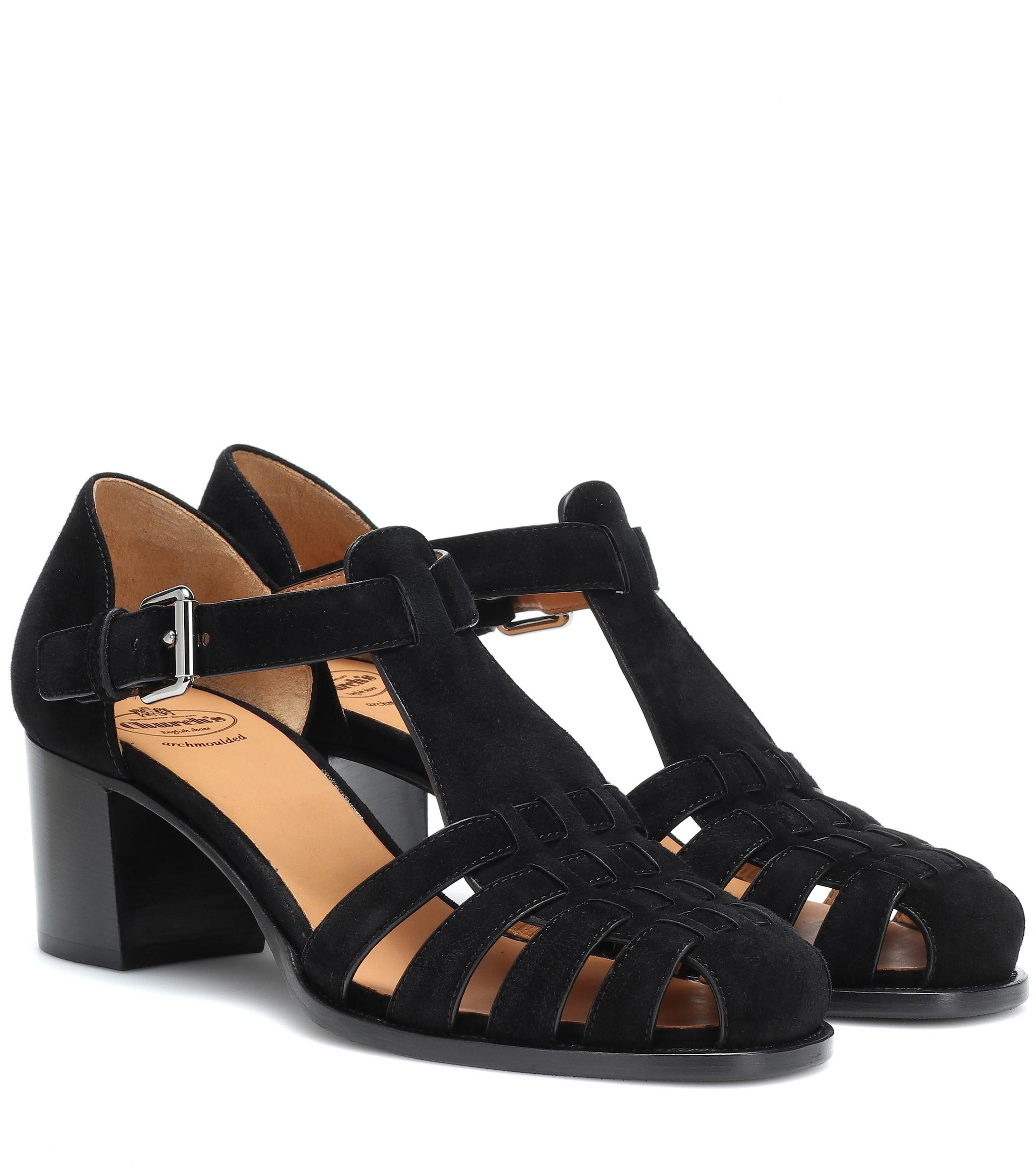 5e4253f748f7 Church s Kelsey Suede Sandals in Black - Lyst