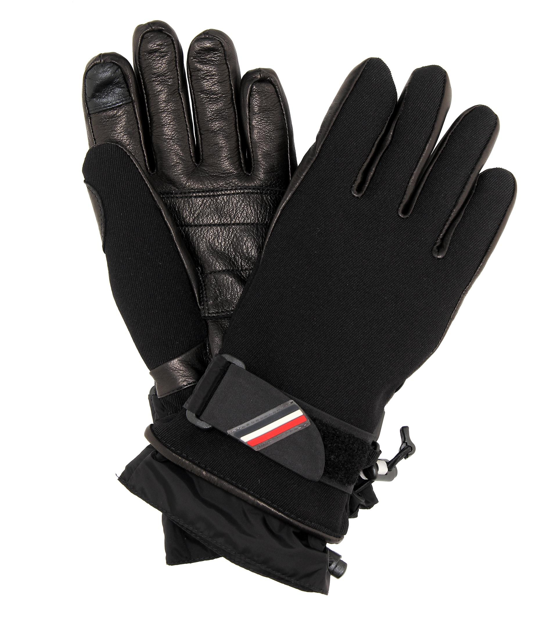 Moncler Grenoble. Women's Black Leather-trimmed Ski Gloves