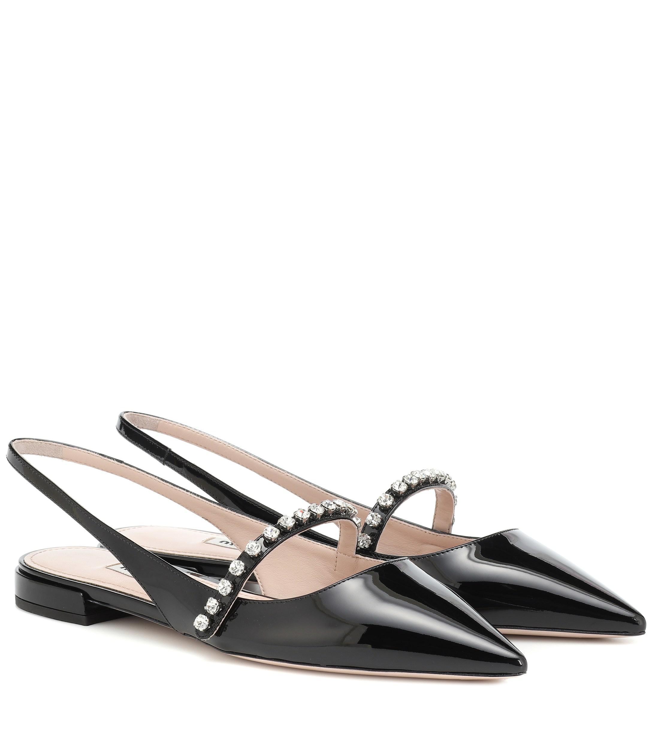 81741c13b5c5 Miu Miu. Women s Black Crystal-embellished Ballet Flats.  750 From  Mytheresa. Free shipping ...