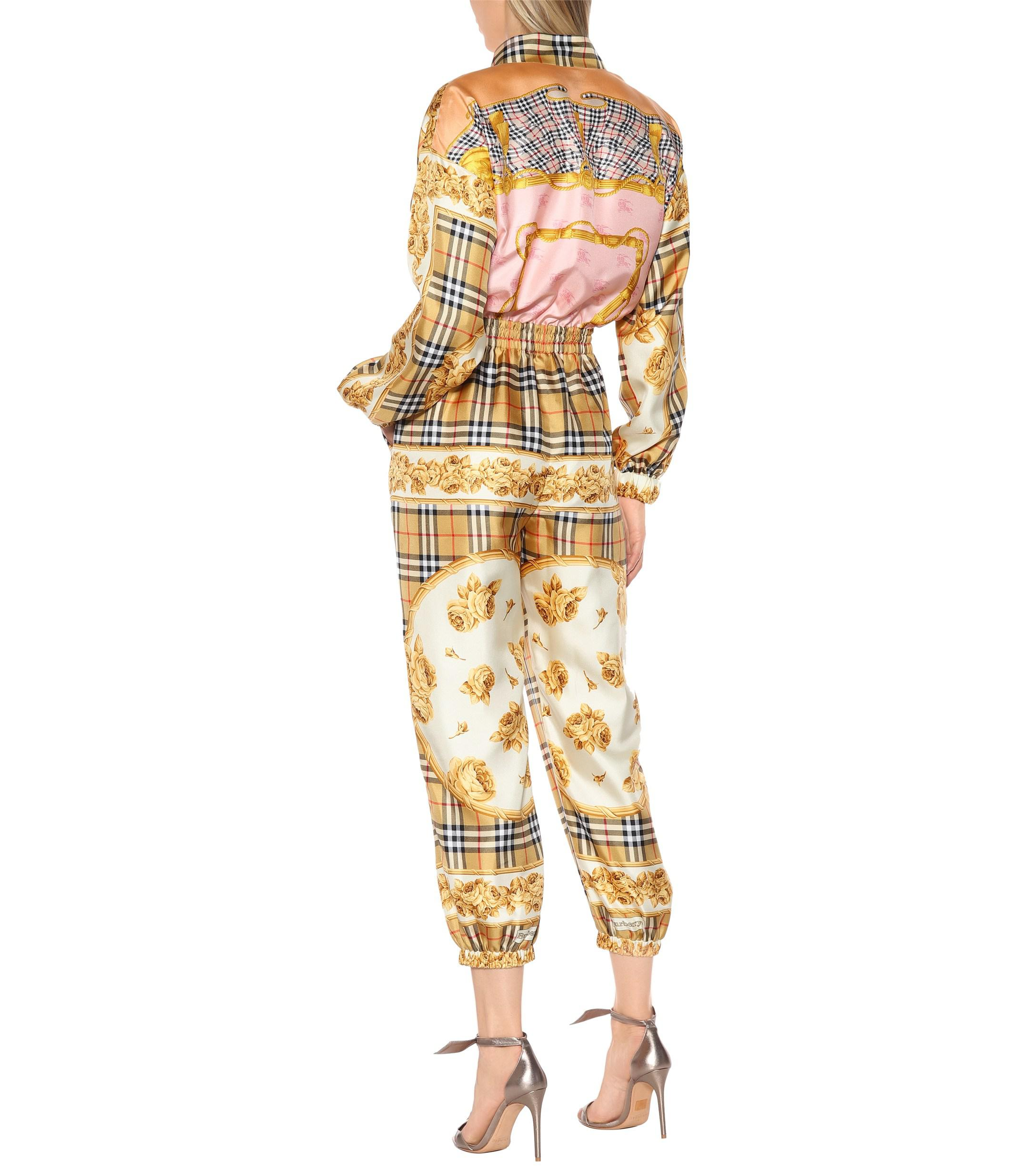 8b1ea7ad3c2 Burberry Vintage Check Silk Jumpsuit in Natural - Lyst