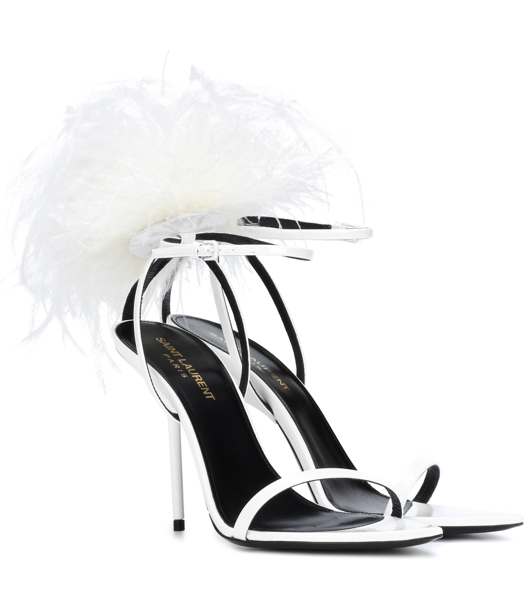 4f5b034c939e Saint Laurent. Women s Inez Feather-trimmed Leather Sandals