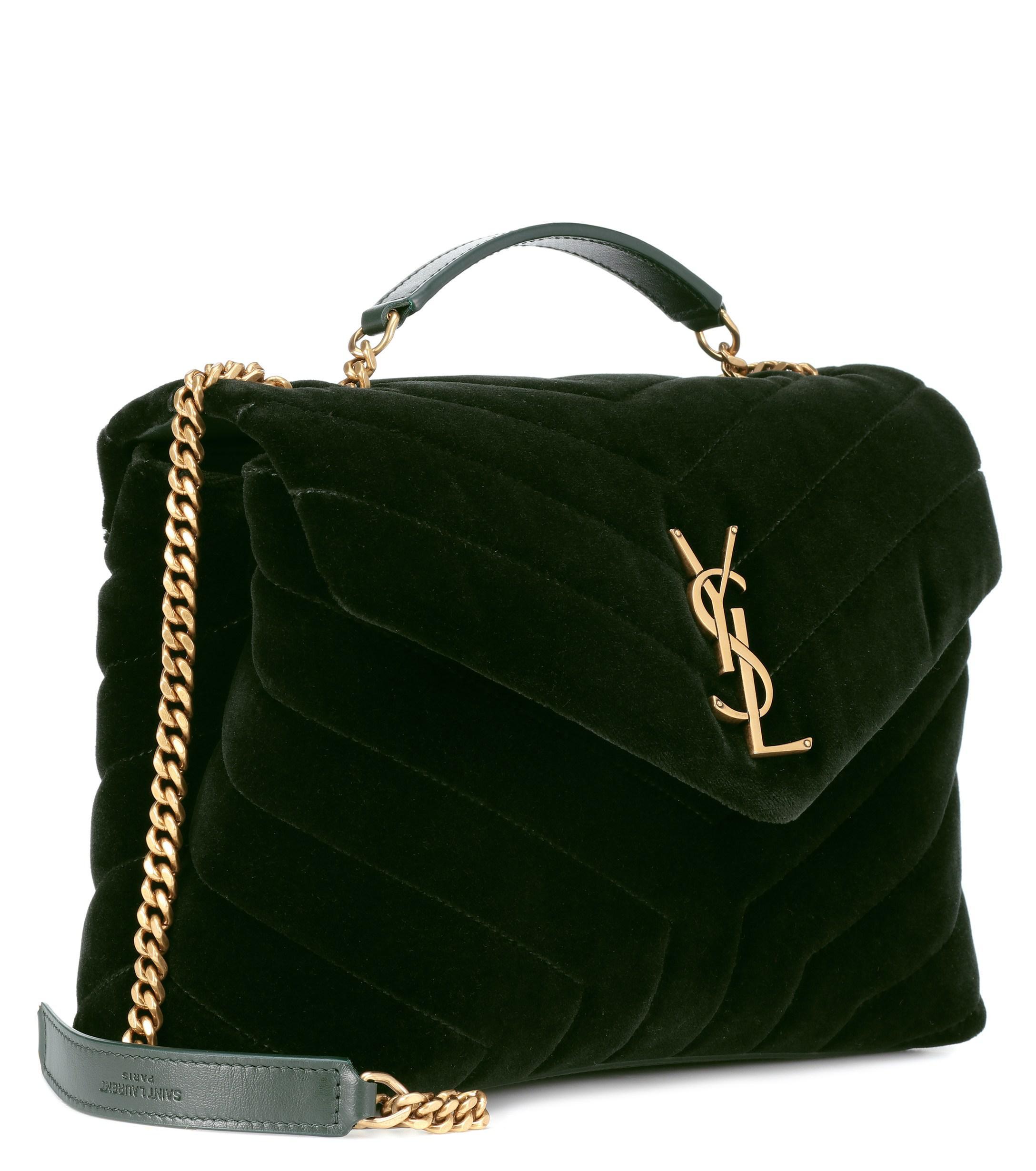 038a76ee0ab Saint Laurent Small Loulou Monogram Velvet Shoulder Bag in Green - Lyst