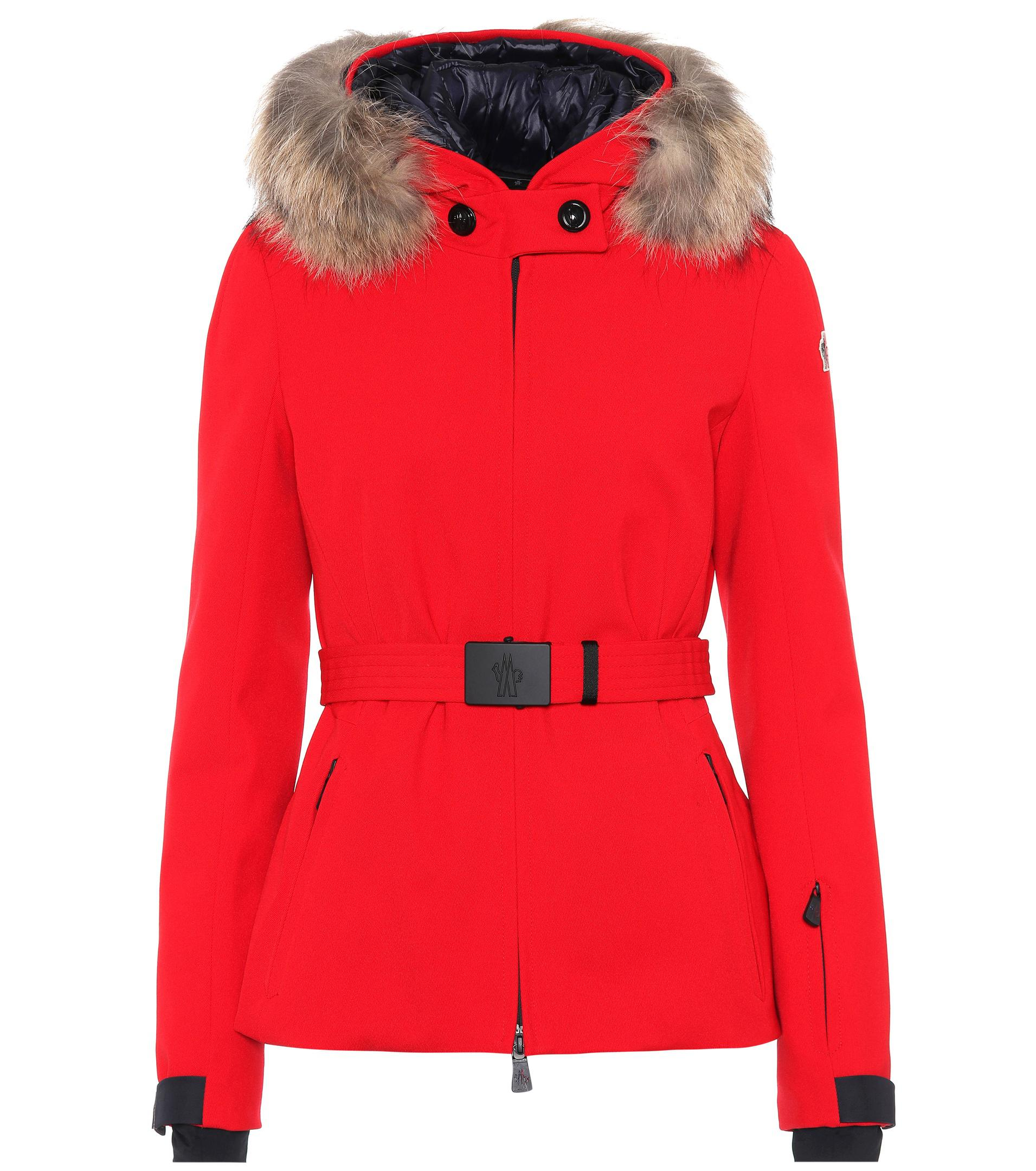 ... free shipping lyst moncler grenoble bauges fur trimmed ski jacket in  red 9899f 26ea4 0c797a32c