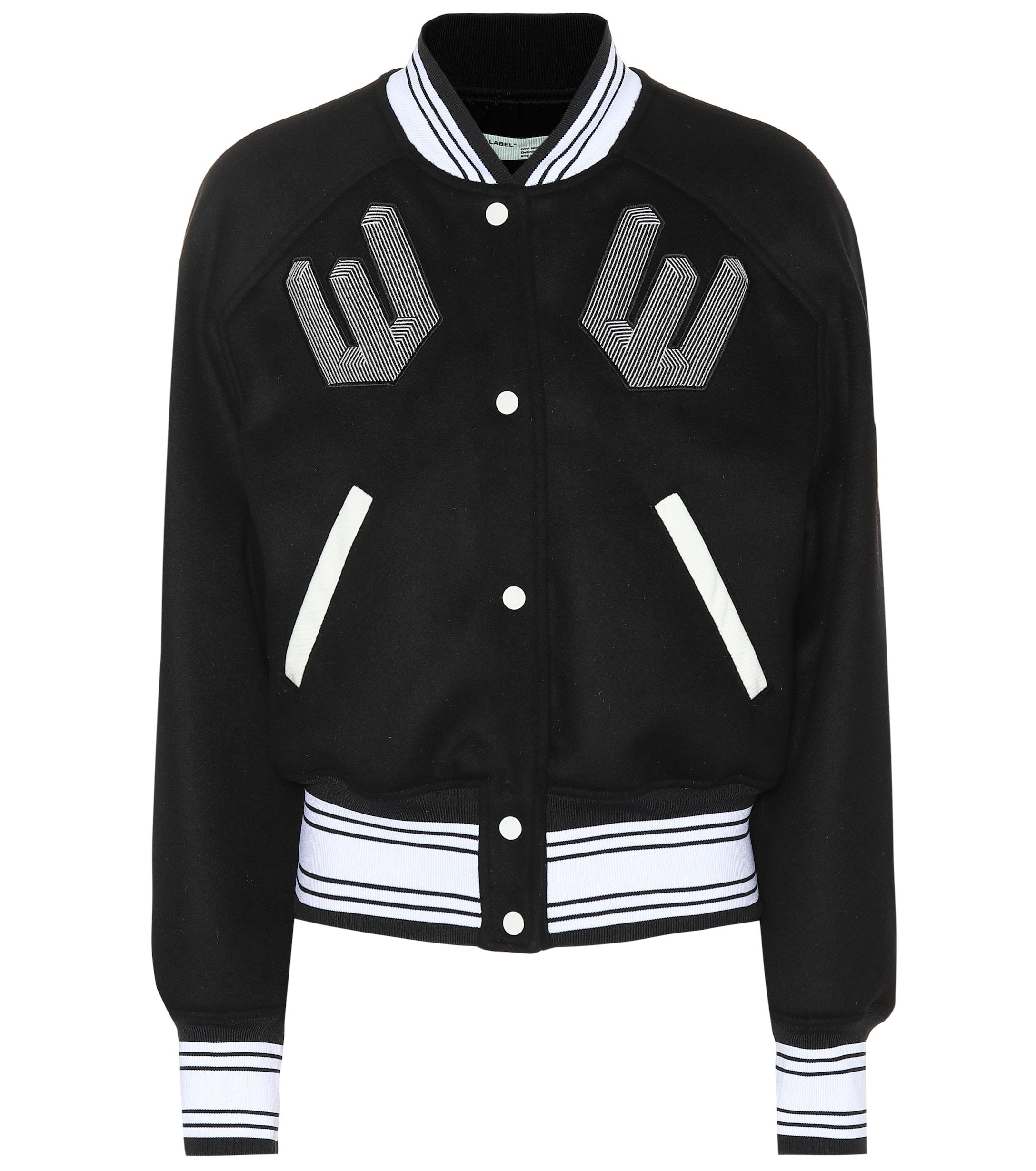 62bfdfadbc1f Off-White c o Virgil Abloh Wool-blend Varsity Jacket in Black - Lyst