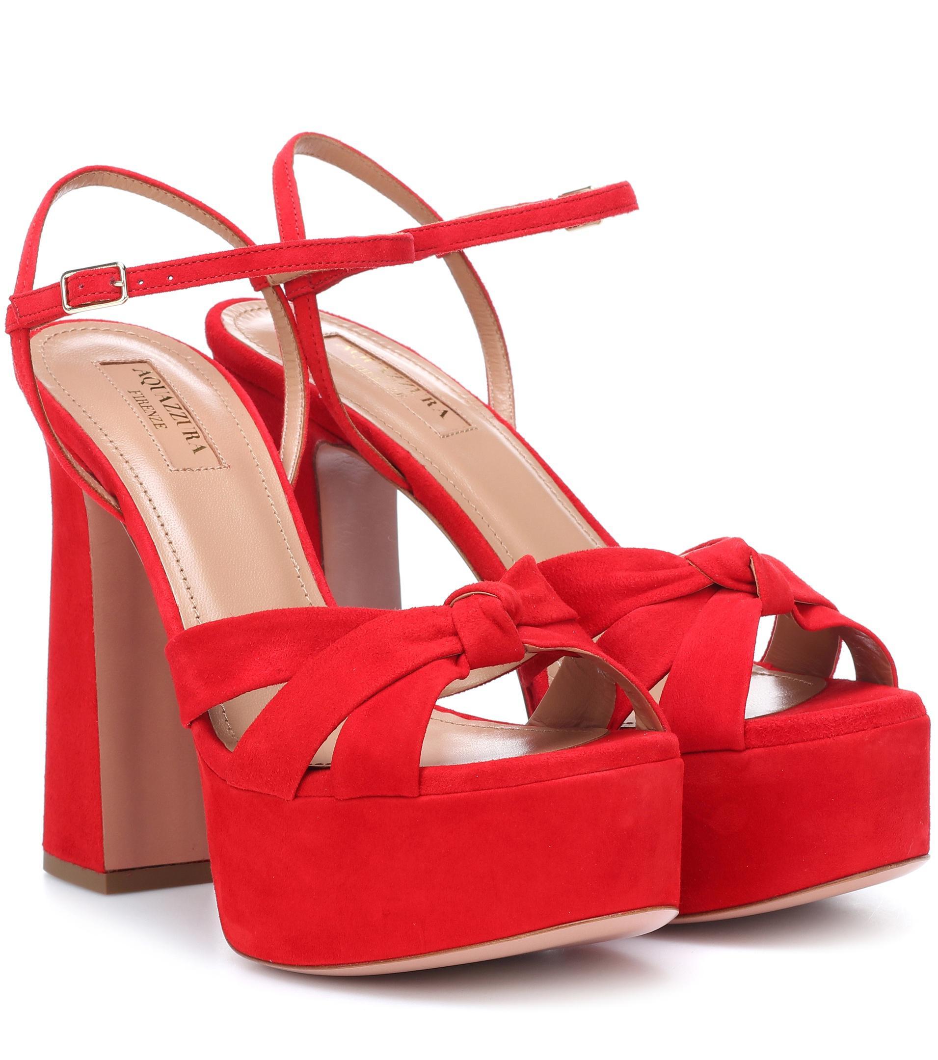red Baba Plateau 125 suede platform sandals Aquazzura rhWEERN3Wx