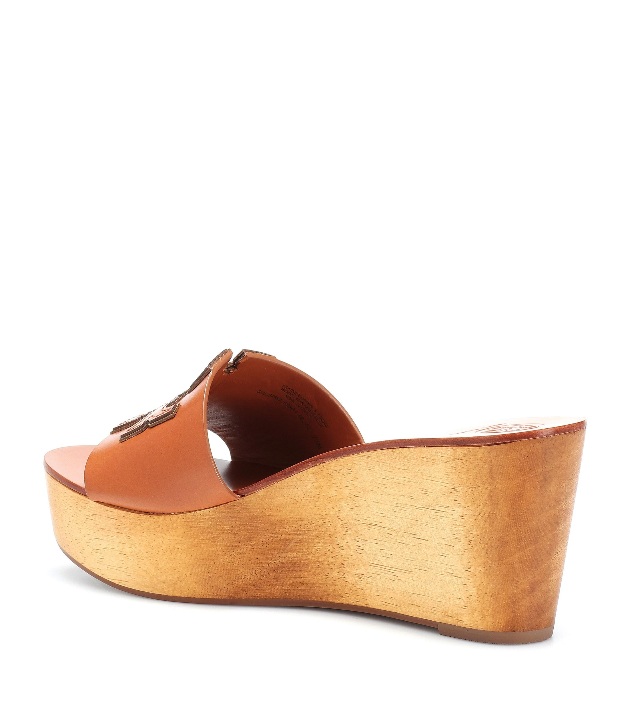 4349583ba686ba Tory Burch - Brown Ines 80mm Leather Wedge Sandals - Lyst. View fullscreen