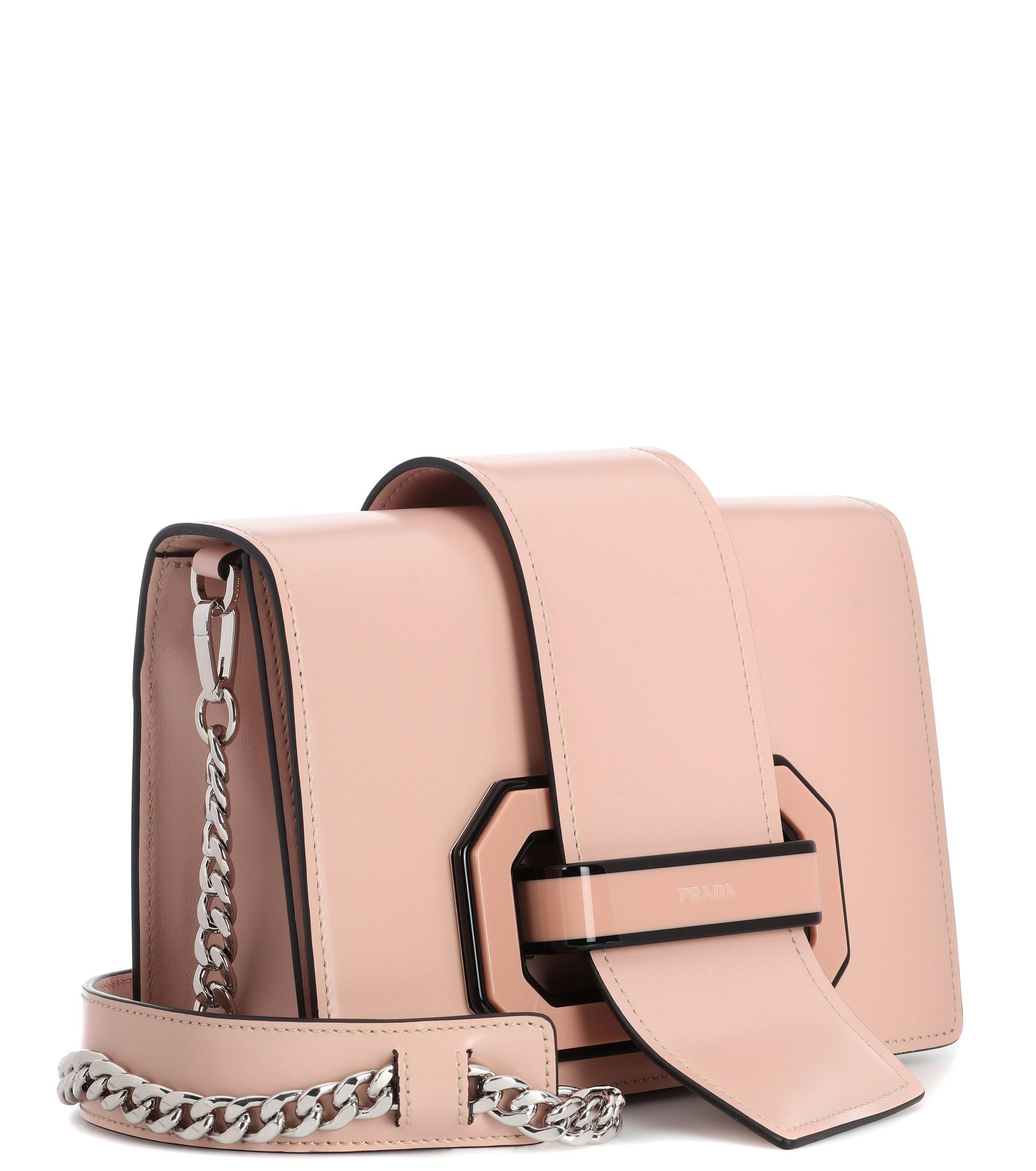 4217a9264a28 Prada Plex Ribbon Leather Shoulder Bag in Pink - Lyst