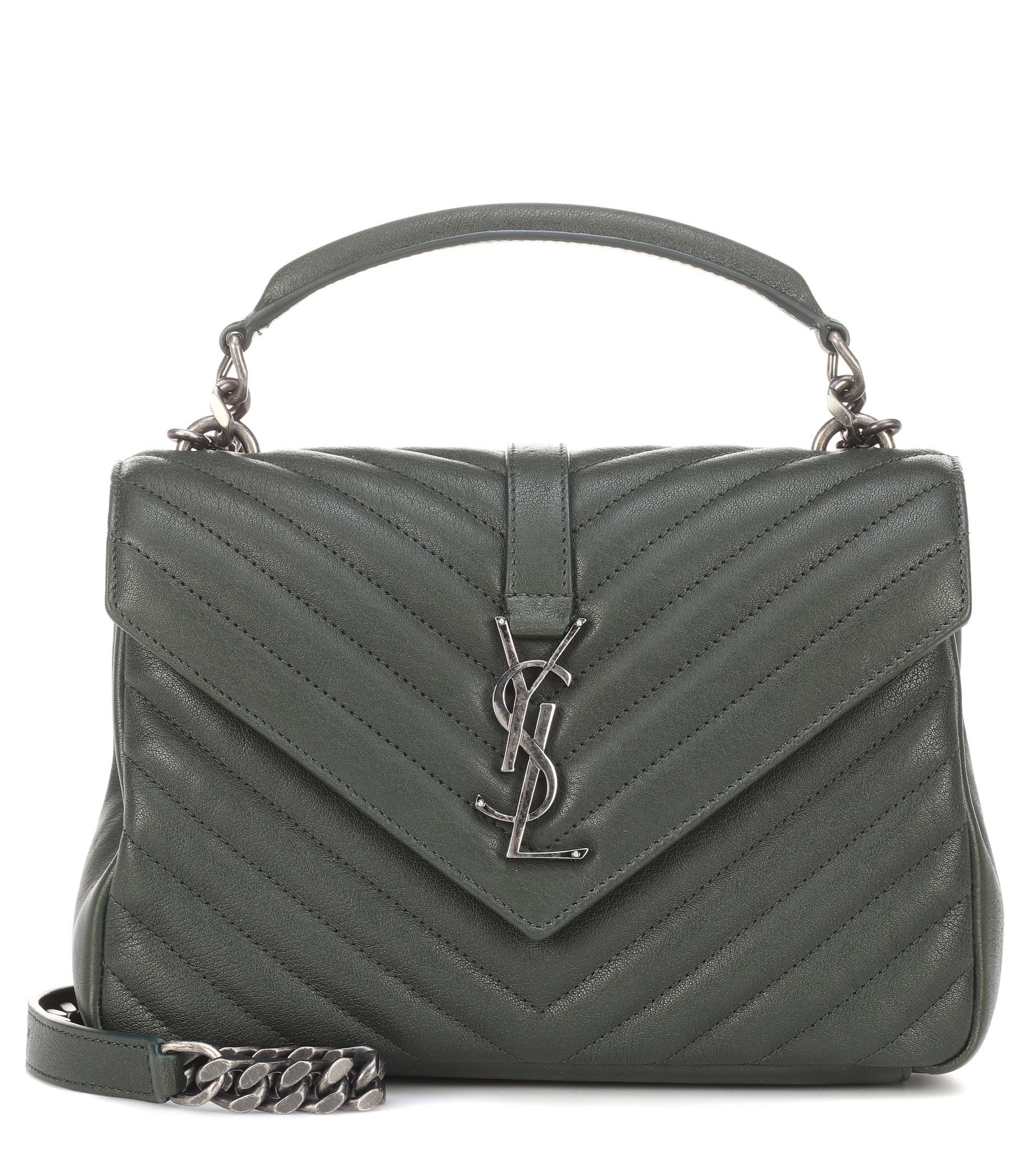 8b7fd62af18cd Saint Laurent Medium Collège Monogram Leather Shoulder Bag in Green ...