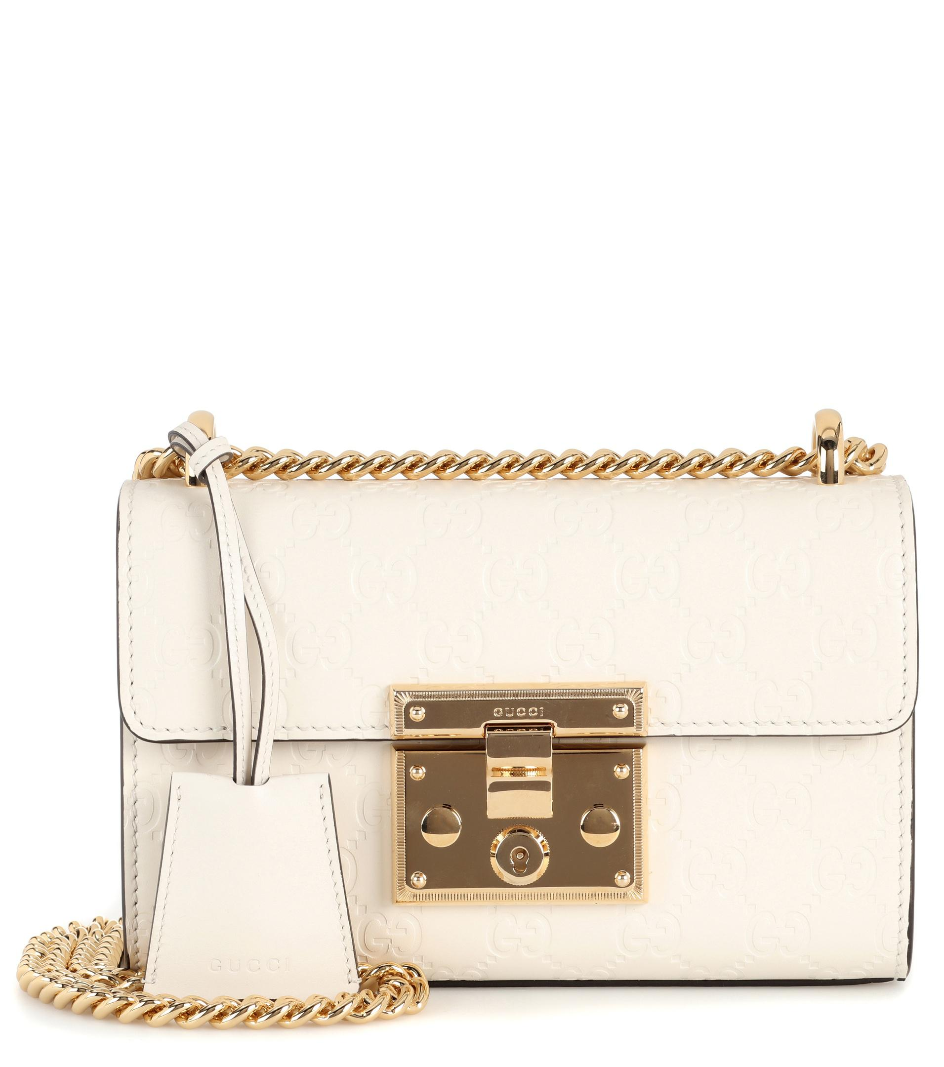 b7efe5a779d Gucci Padlock Small Leather Shoulder Bag in White - Lyst