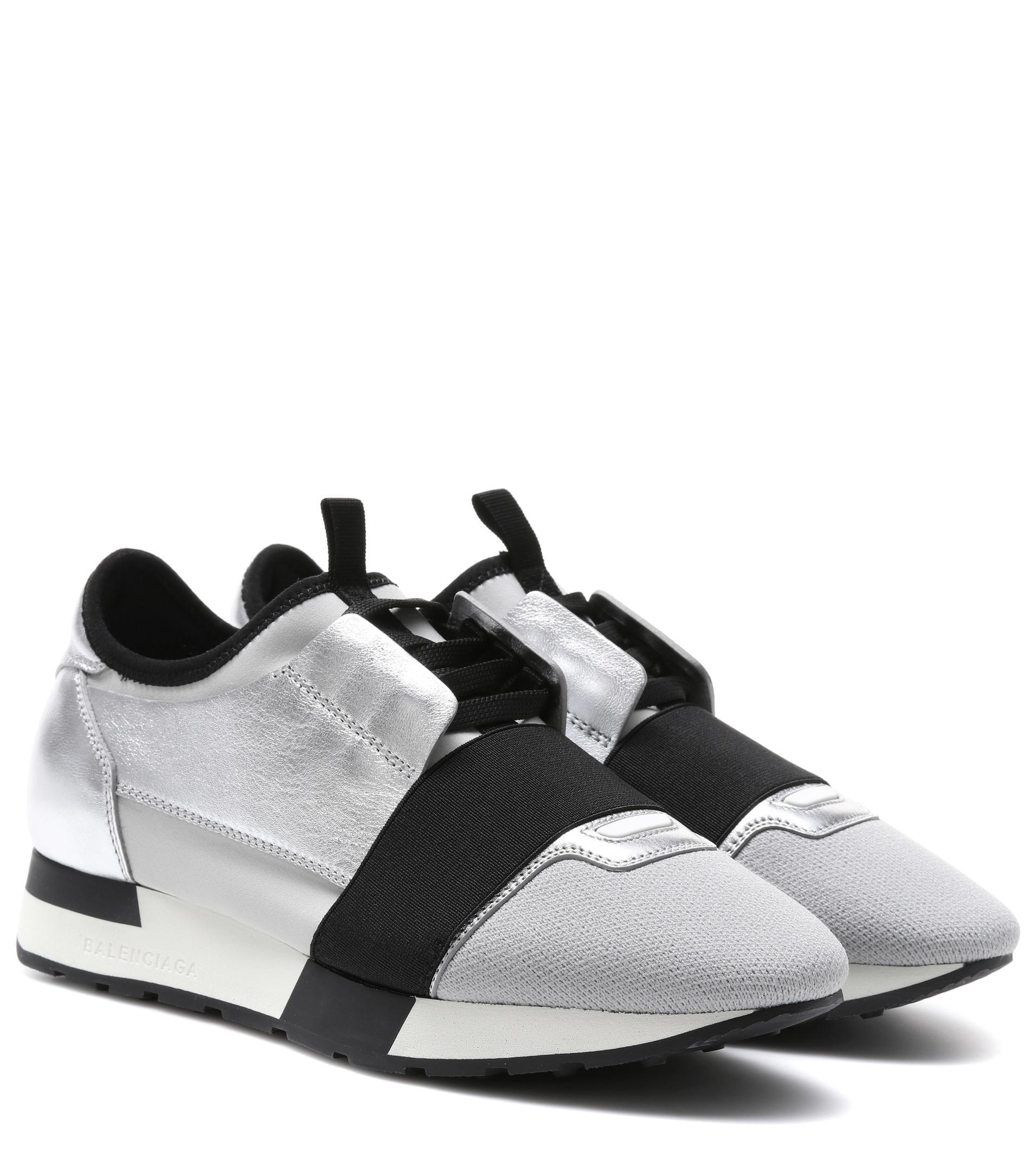 Grey and Silver Race Runner Leather Sneakers - Metallic Balenciaga iXqDeU