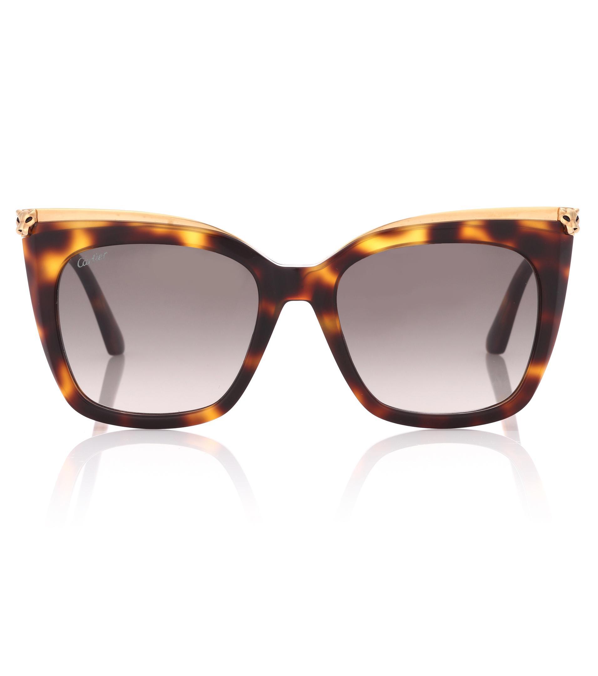 3c5a705f61 Lyst - Cartier Panthère De Cartier Square Sunglasses in Brown