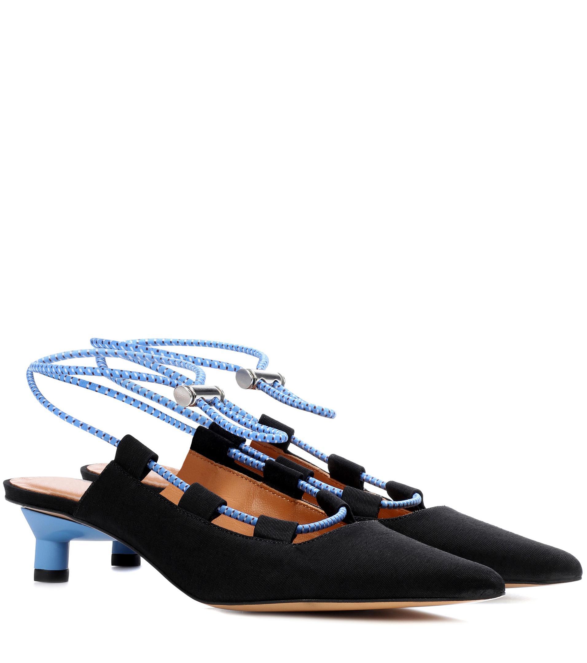 Ganni Drawstring ankle-strap pumps