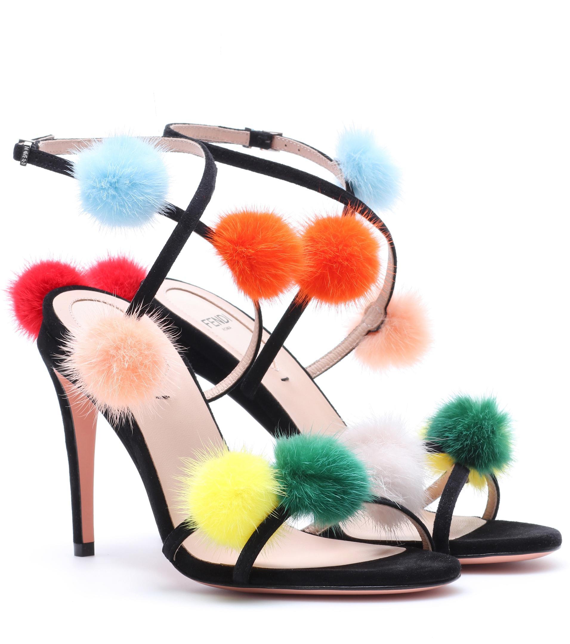Fendi Mink-Trimmed Suede Sandals very cheap price UjcHfI