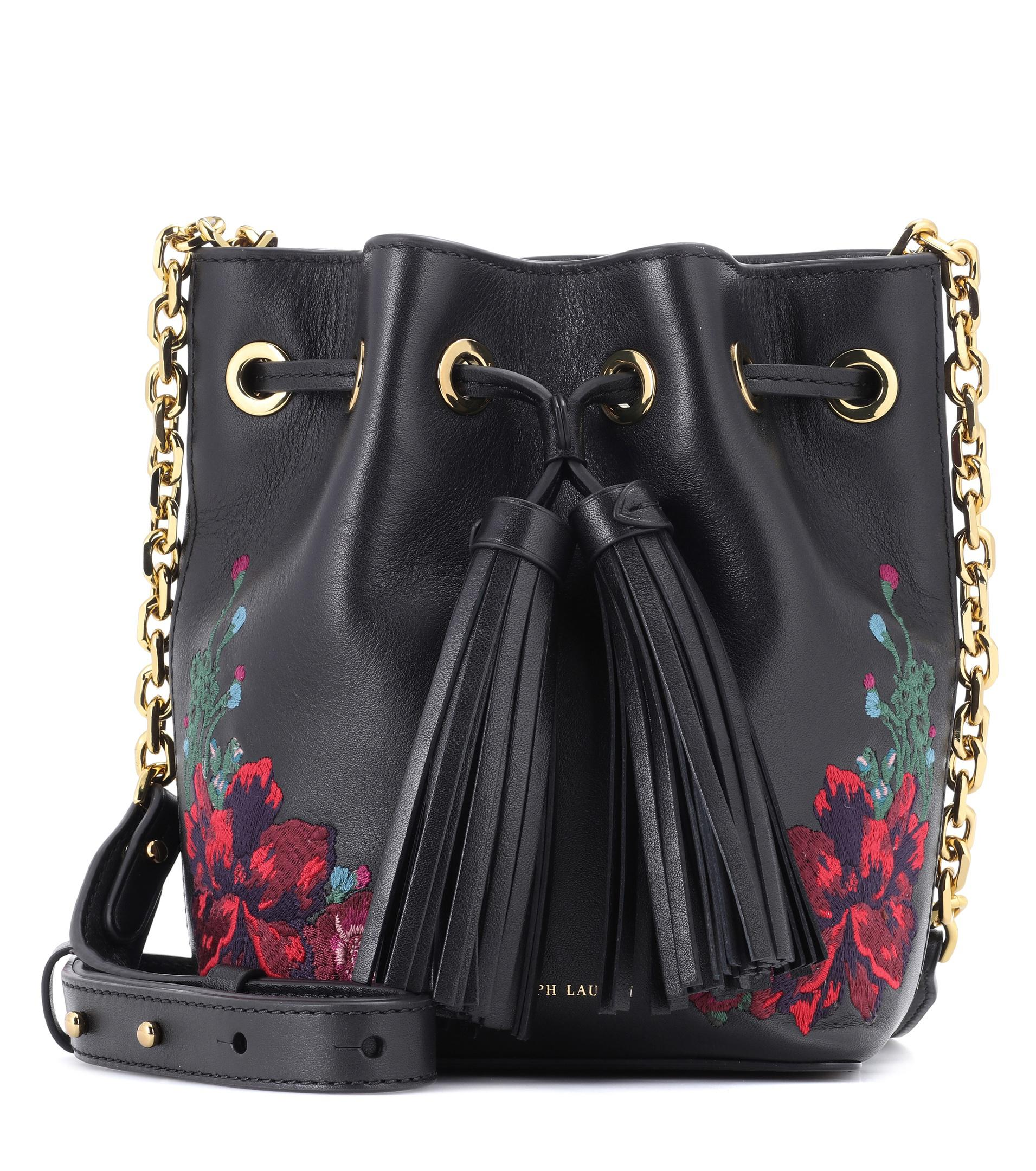 Polo Ralph Lauren Embroidered Leather Bucket Bag in Black - Lyst b0343adfd46e0