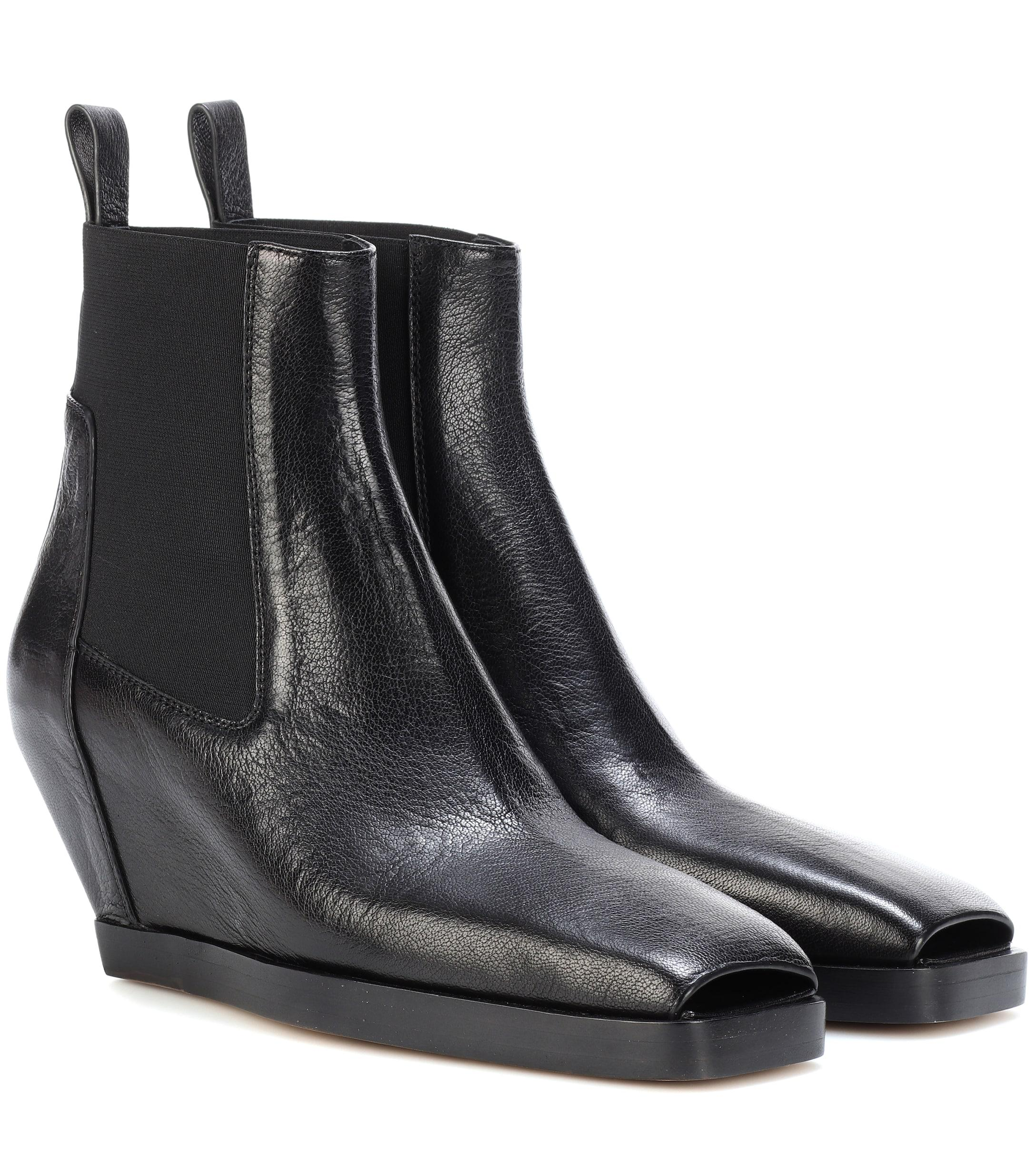 8b5dd4810f3a Lyst - Rick Owens Leather Ankle Boots in Black