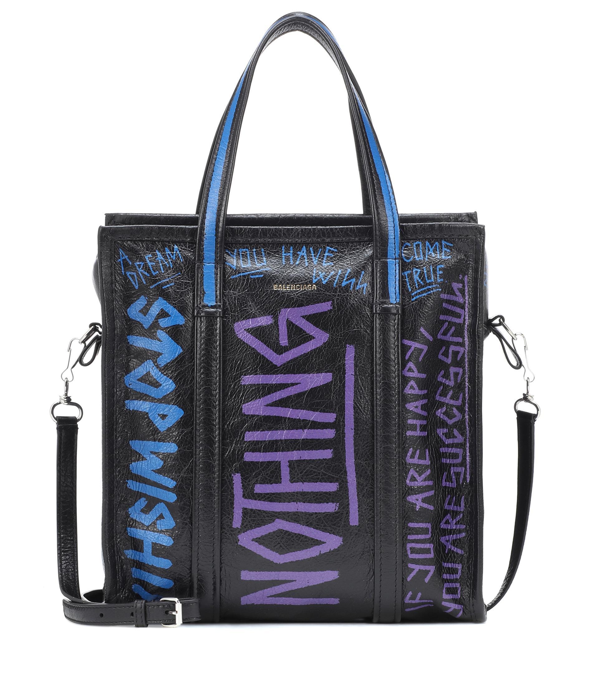 658233492d31 Lyst - Balenciaga Graffiti Bazar Shopper Tote Bag Leather Black blue ...