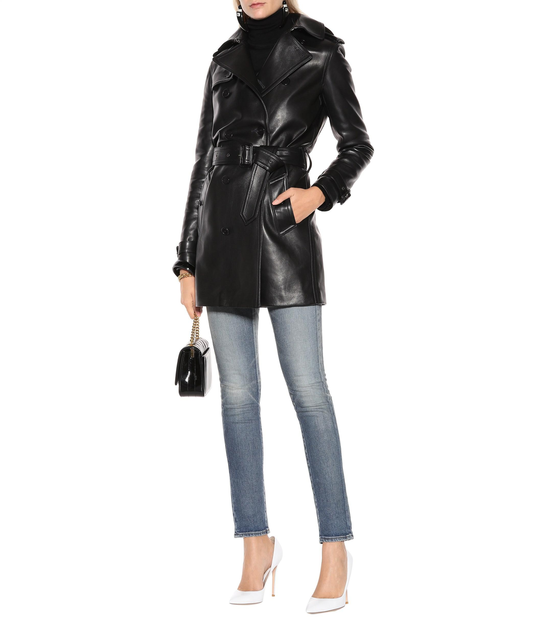 bcd73381e4c Saint Laurent - Black Leather Trench Coat - Lyst. View fullscreen