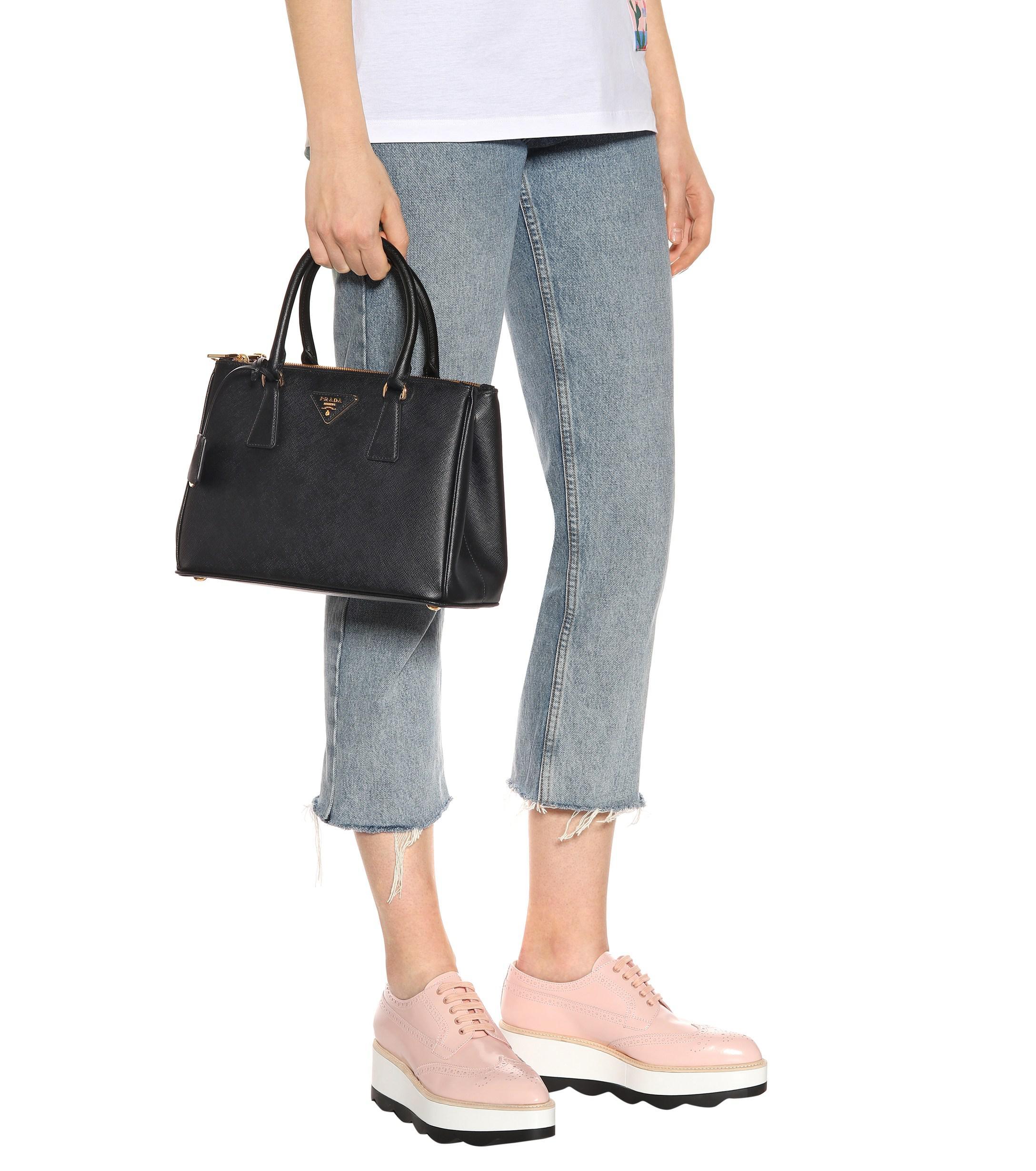 83494b70e47e Lyst - Prada Galleria Saffiano Small Leather Shoulder Bag in Black