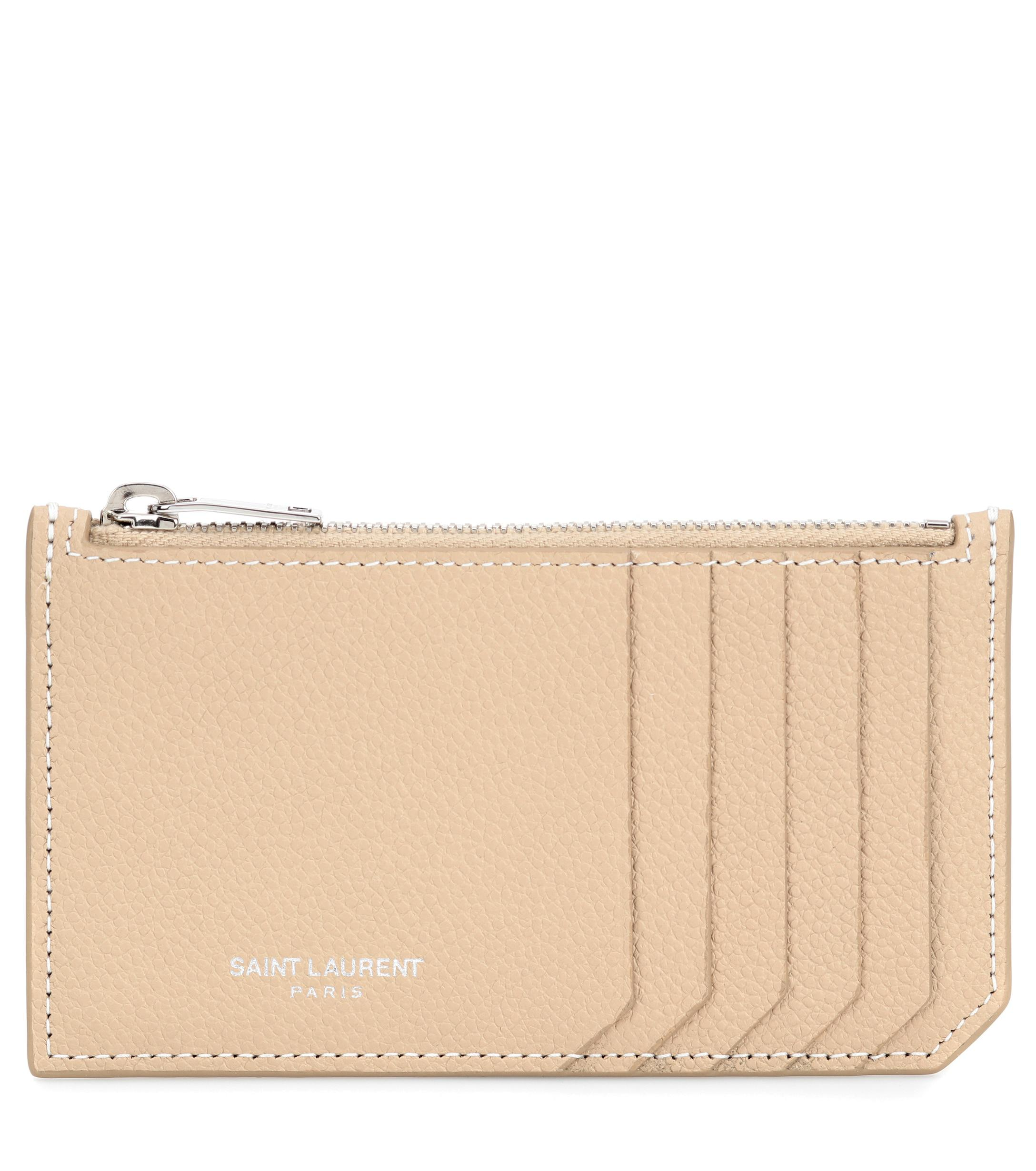 c71b540b010b0 Lyst - Saint Laurent Leather Card Holder in Natural