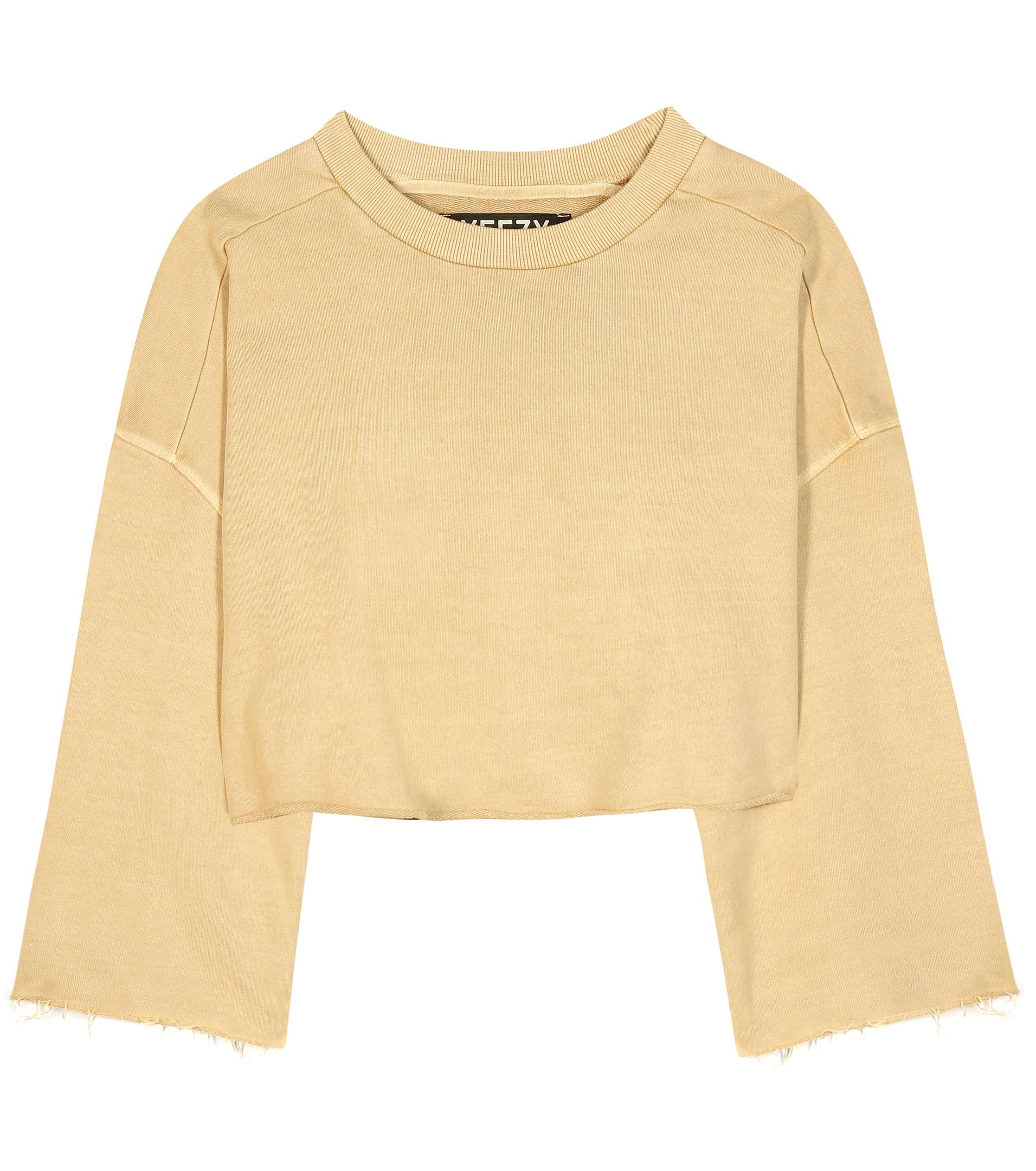 Yeezy Cropped Cotton Sweater (season 1) in Natural | Lyst