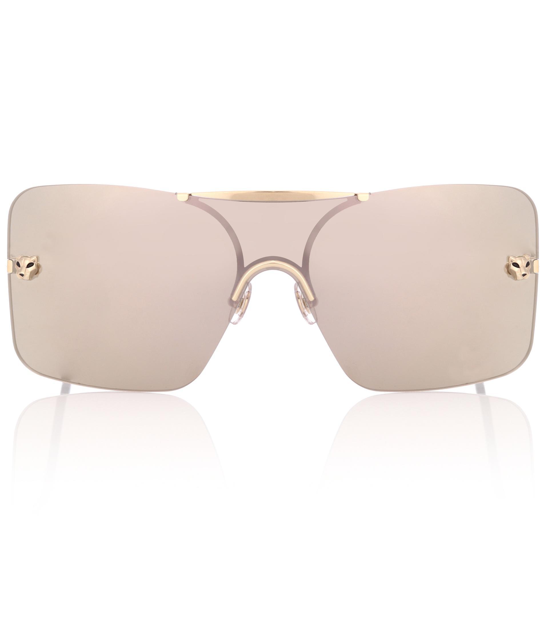 dcd0c92f4ee Cartier Panthère De Cartier Square Sunglasses in Metallic - Lyst