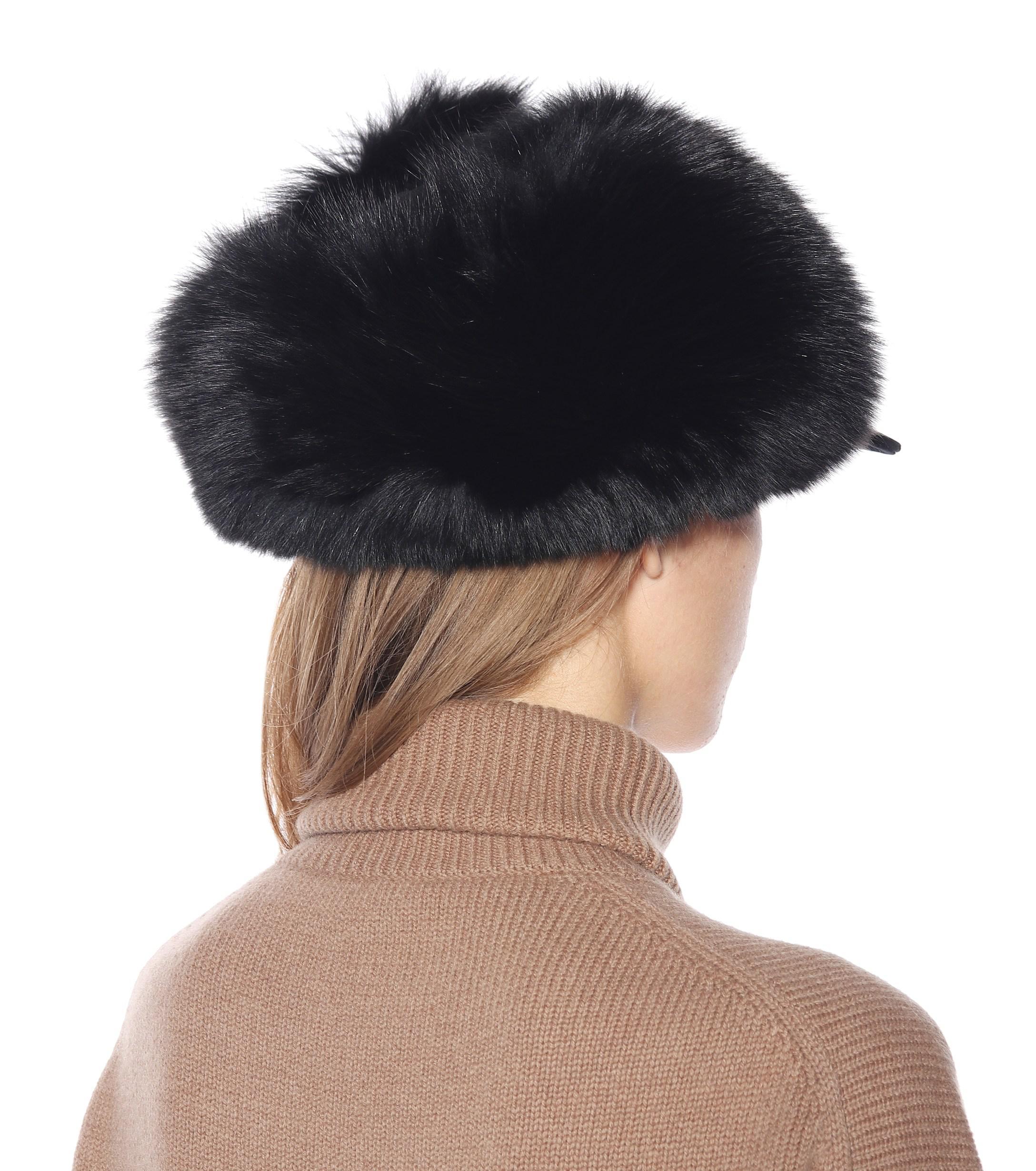 073dcd2c15b Moncler - Black Fur-lined Cotton Trapper Hat - Lyst. View fullscreen