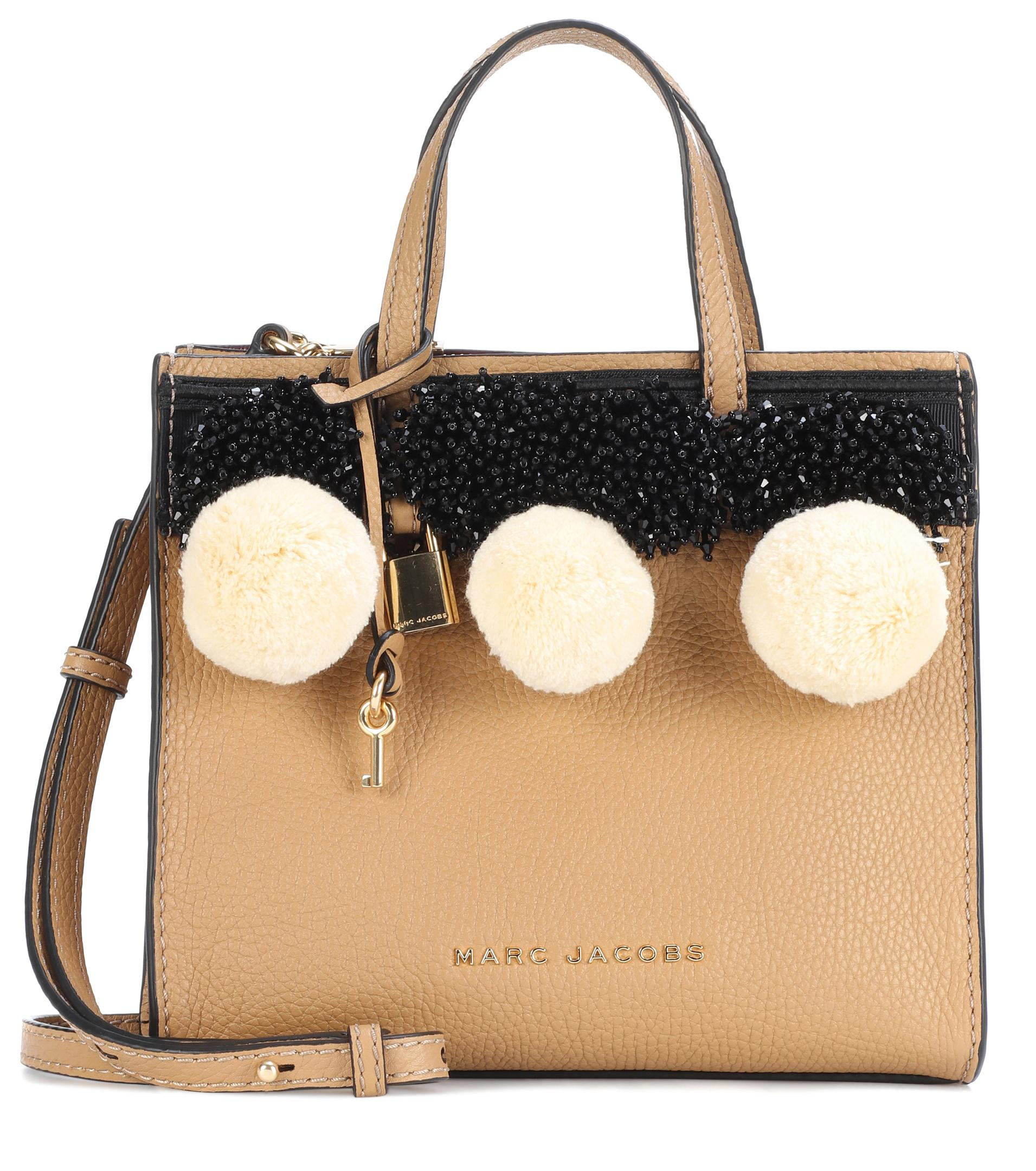 b3f56fdf194dd Marc Jacobs Beads   Pom Poms Little Big Shot Leather Tote in Natural ...