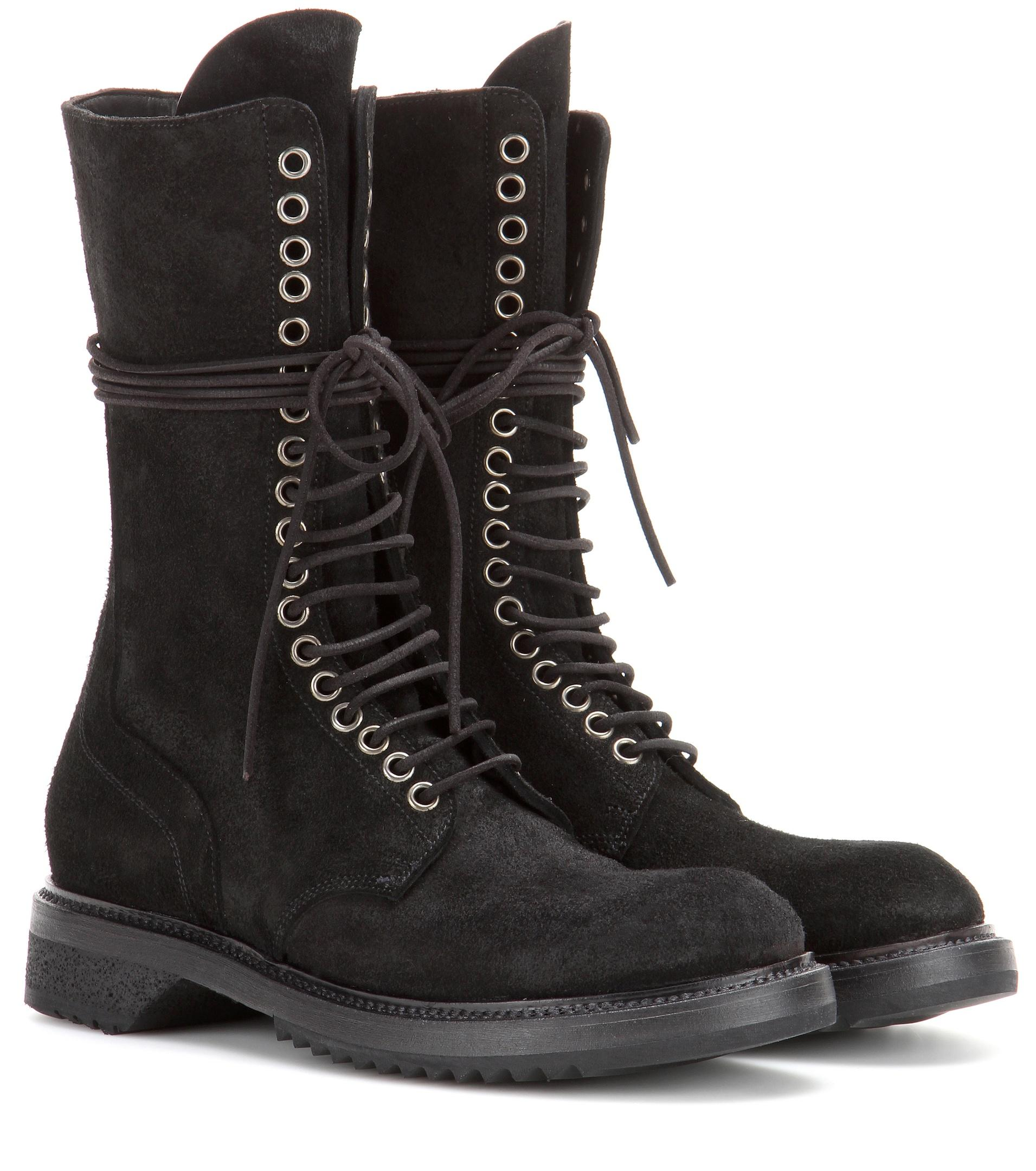 Rick owens Army Suede Boots in Black