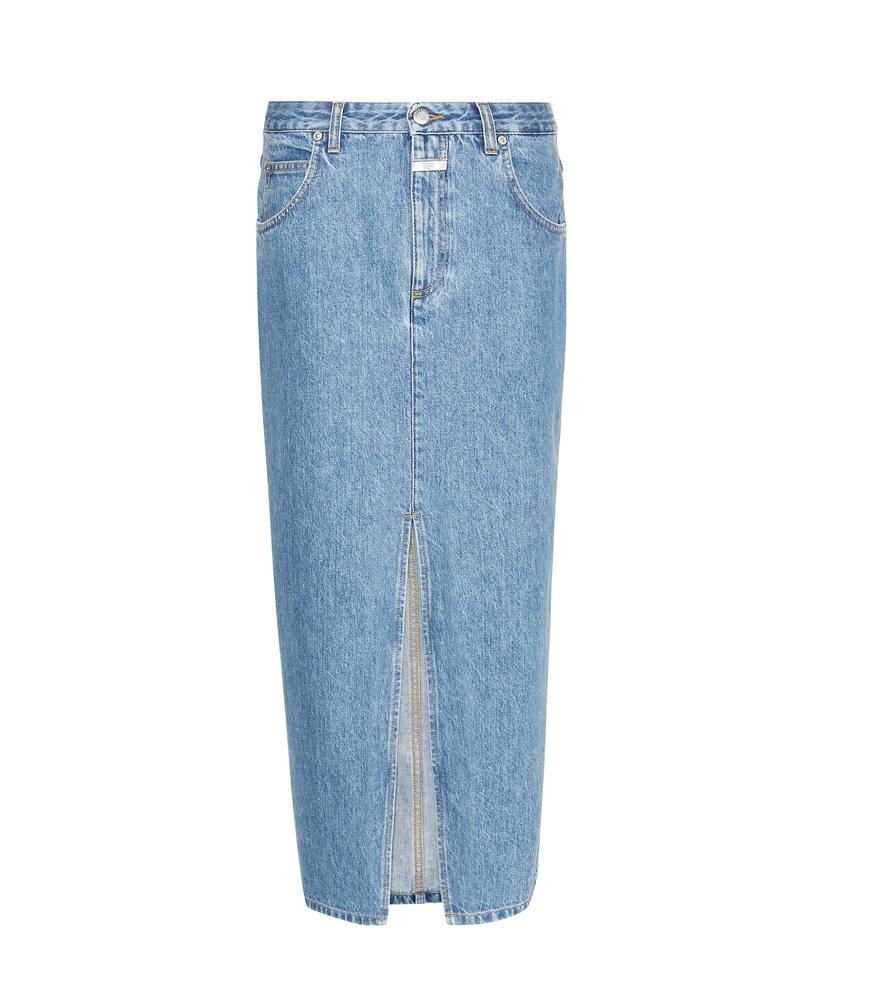 closed clara denim midi skirt in blue lyst