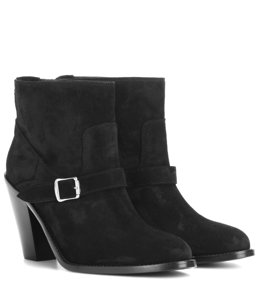 laurent new western 80 suede ankle boots in black