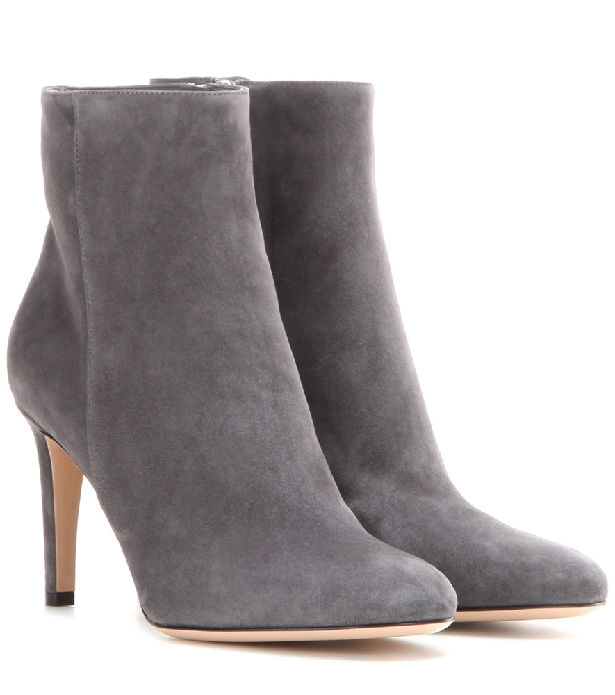 gianvito stilo suede ankle boots in gray grey lyst