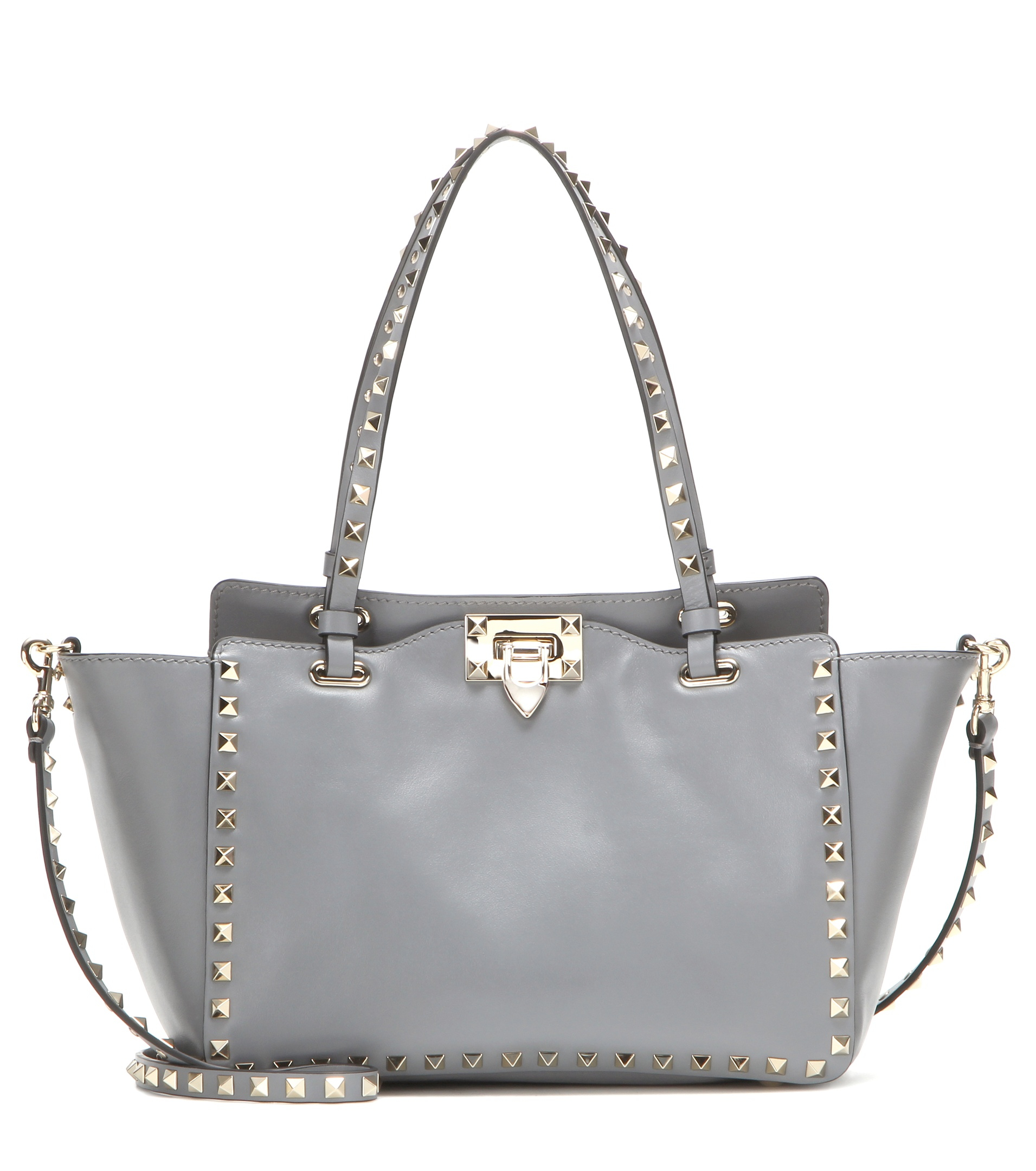 valentino garavani rockstud small leather tote in gray lyst. Black Bedroom Furniture Sets. Home Design Ideas
