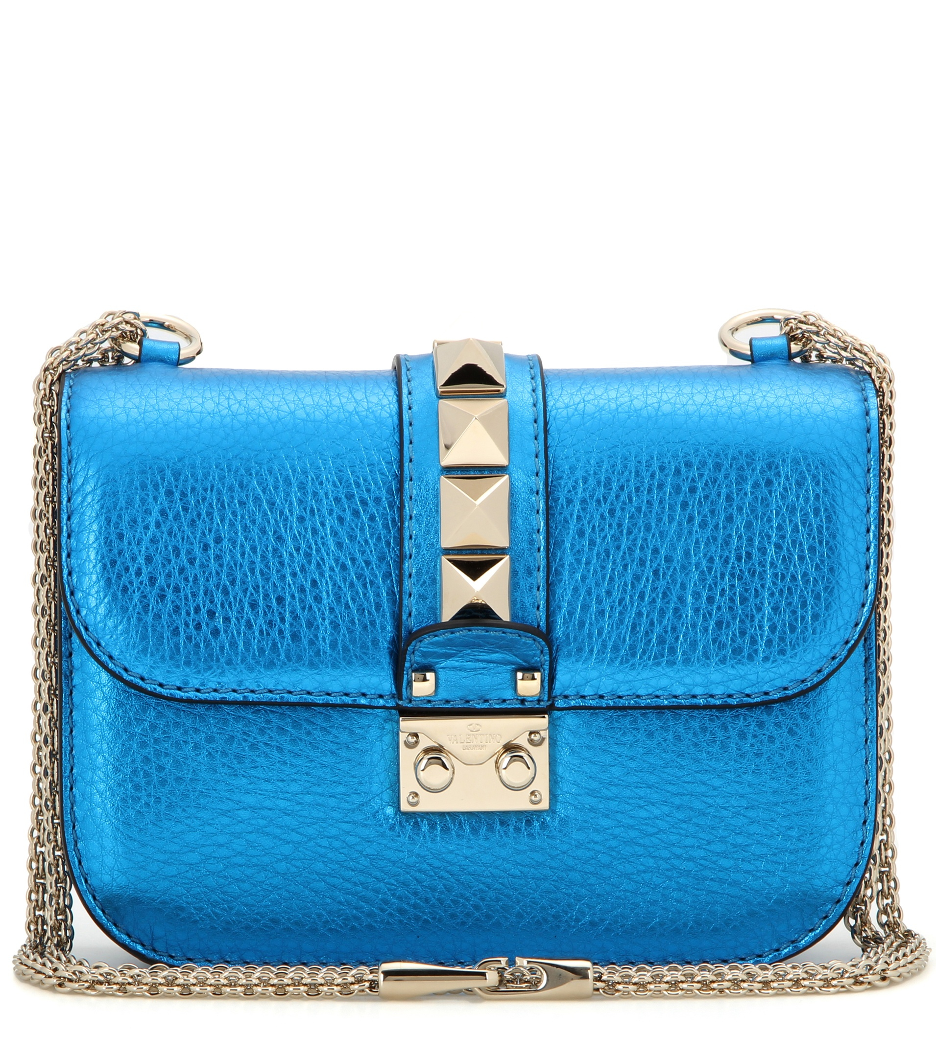 Valentino Lock Small Metallic Leather Shoulder Bag in Blue ...