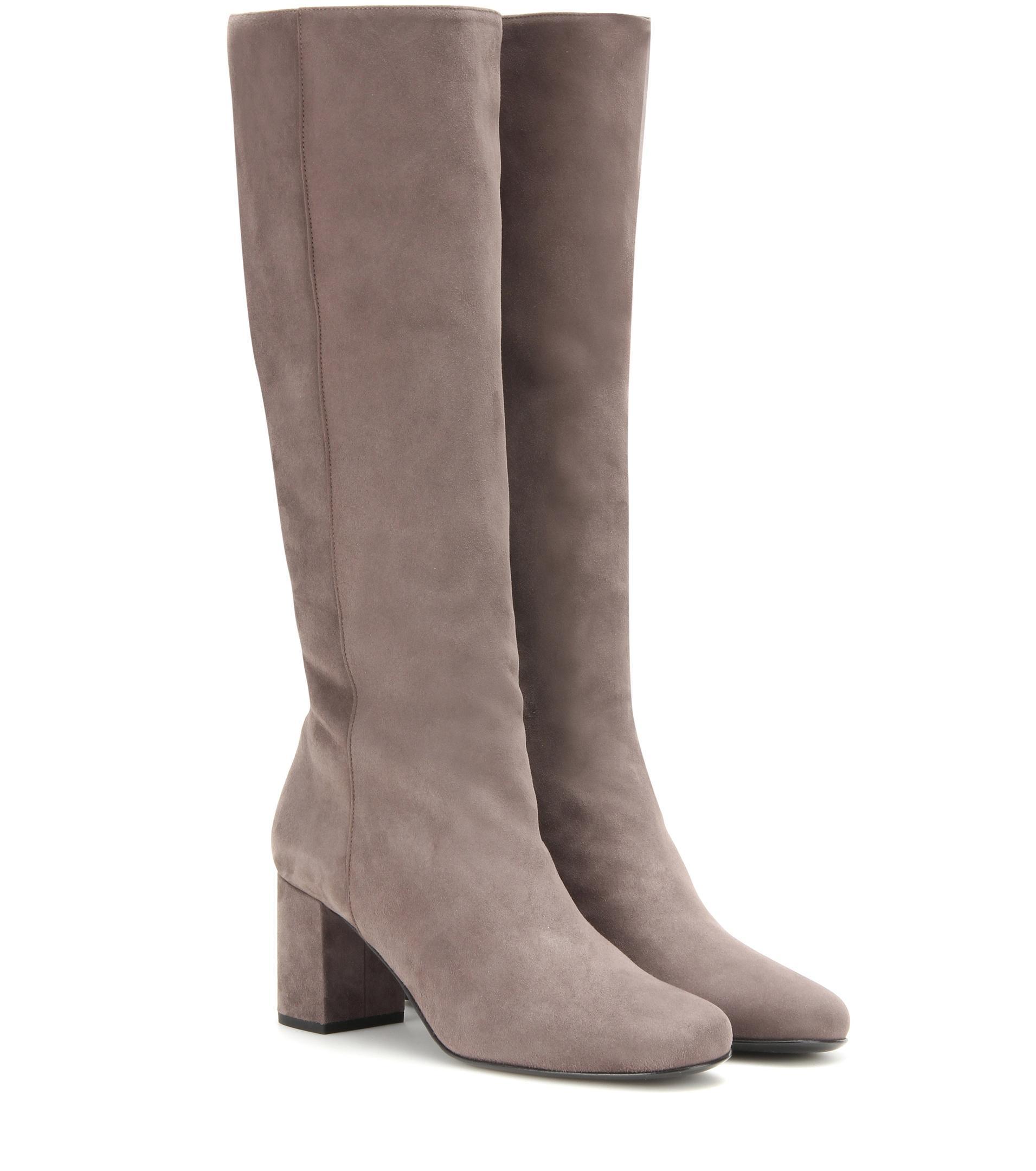 laurent babies suede knee high boots in grey lyst