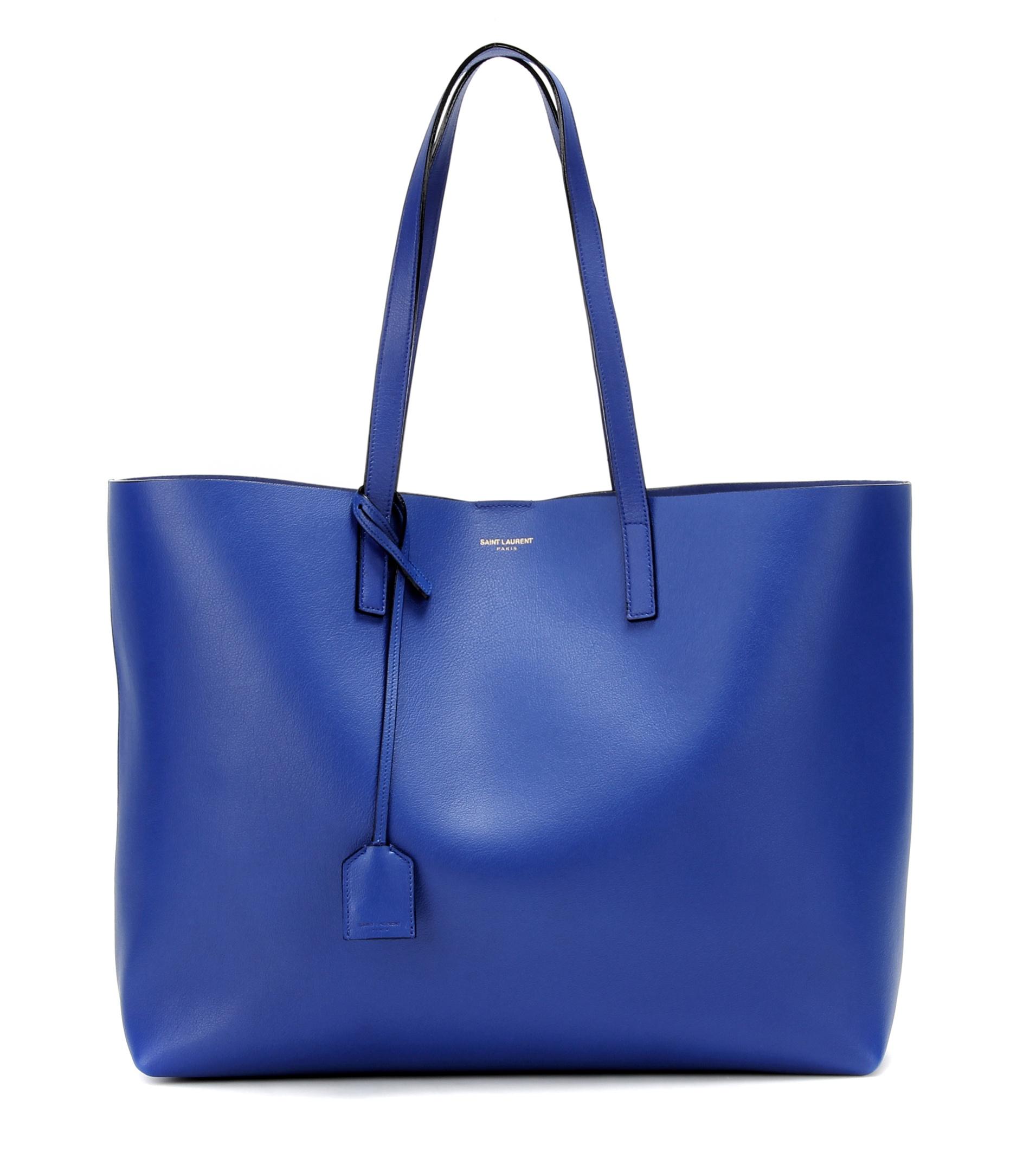 saint laurent leather shopper in blue lyst. Black Bedroom Furniture Sets. Home Design Ideas