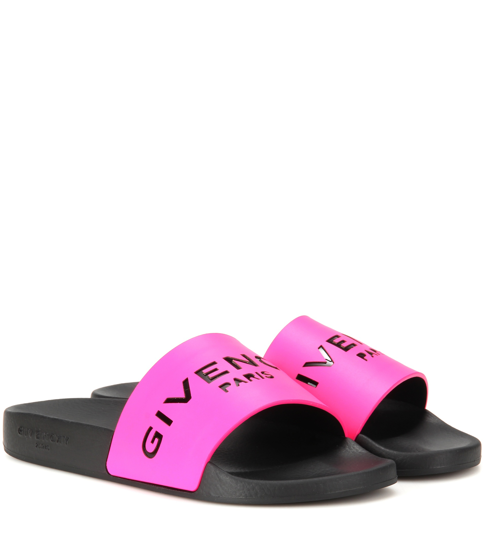 lyst givenchy slide leather and rubber sandals in pink