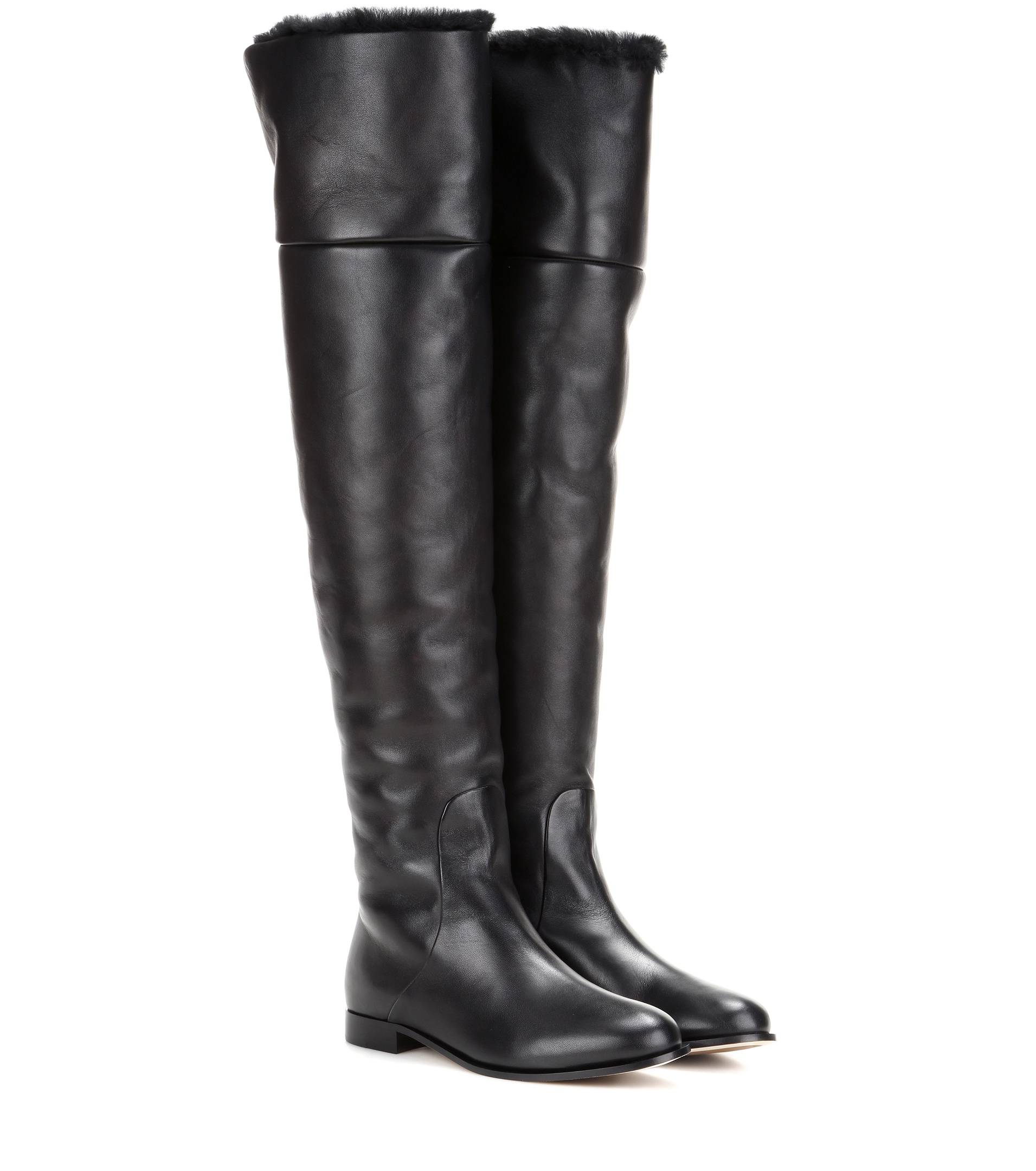 Jimmy choo Marshall Flat Leather Over-the-knee Boots in Black | Lyst