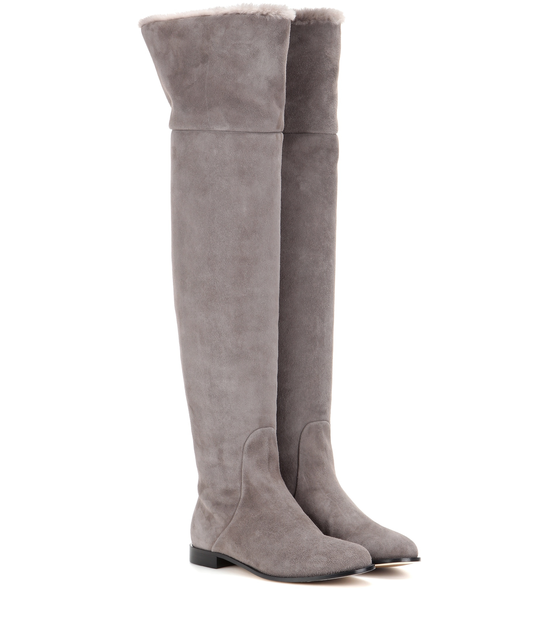 jimmy choo marshall suede the knee boots in gray lyst
