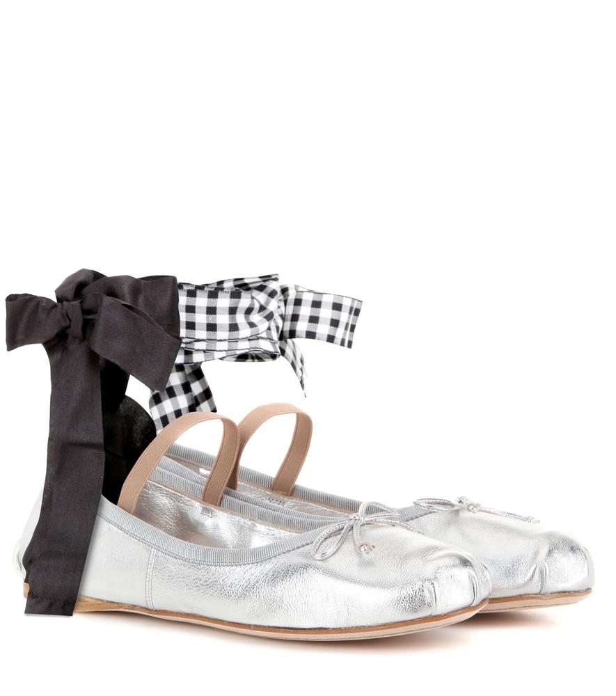 miu miu metallic leather ballerinas in metallic silver lyst. Black Bedroom Furniture Sets. Home Design Ideas