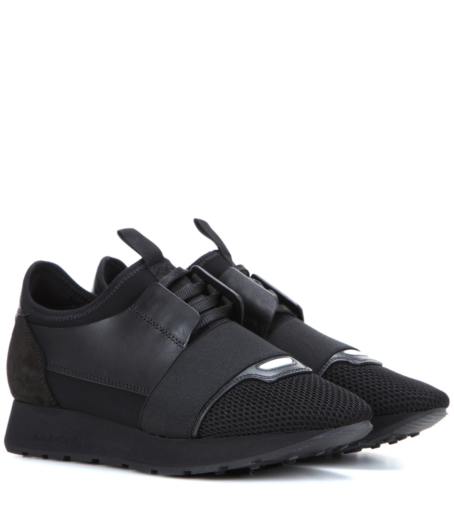 Balenciaga Race Runner Leather And Mesh Sneakers In Black