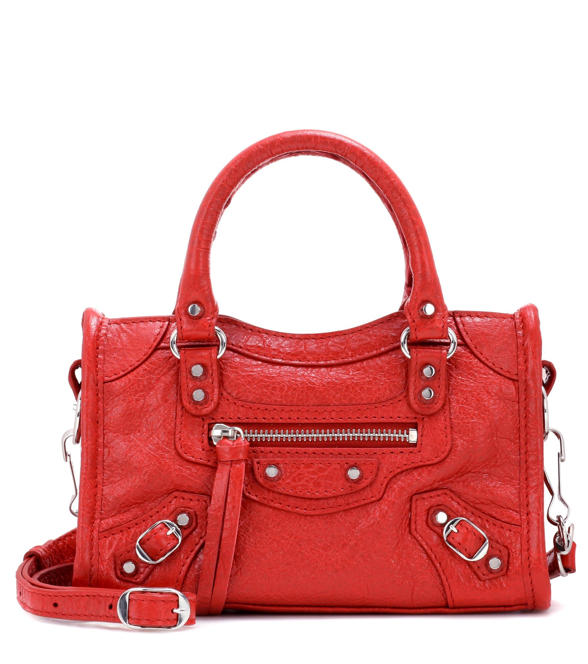 253ce328e6ea Lyst - Balenciaga Classic Nano City Shoulder Bag in Red