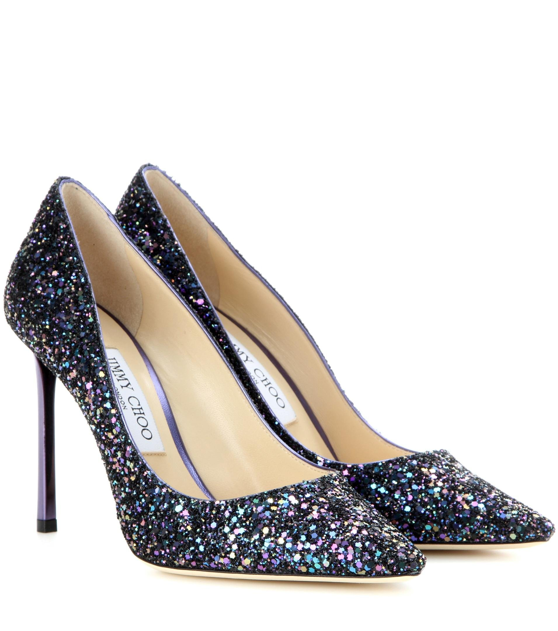 jimmy choo romy 100 glitter pumps in purple lyst. Black Bedroom Furniture Sets. Home Design Ideas