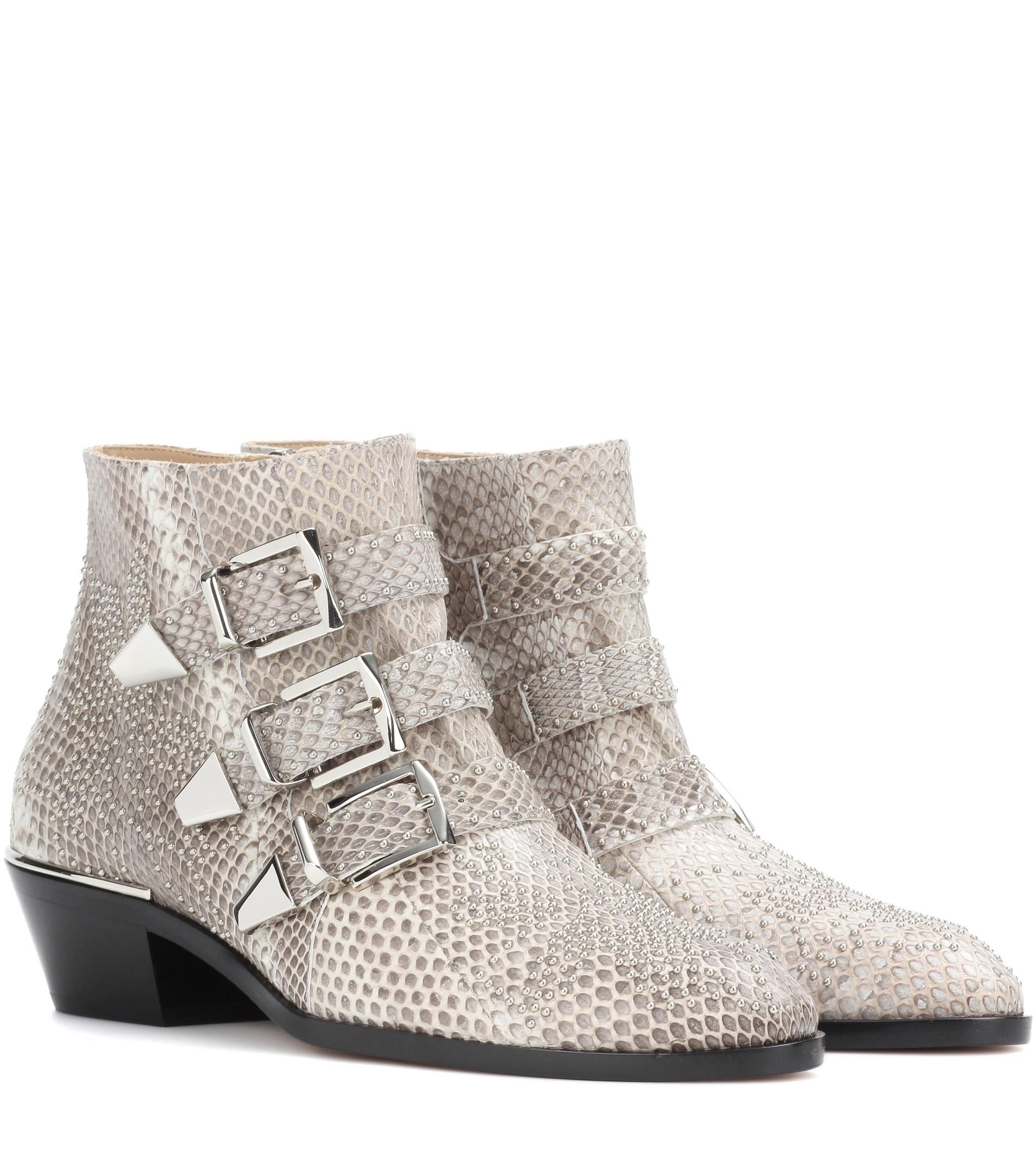lyst chlo susanna snakeskin ankle boots in white. Black Bedroom Furniture Sets. Home Design Ideas