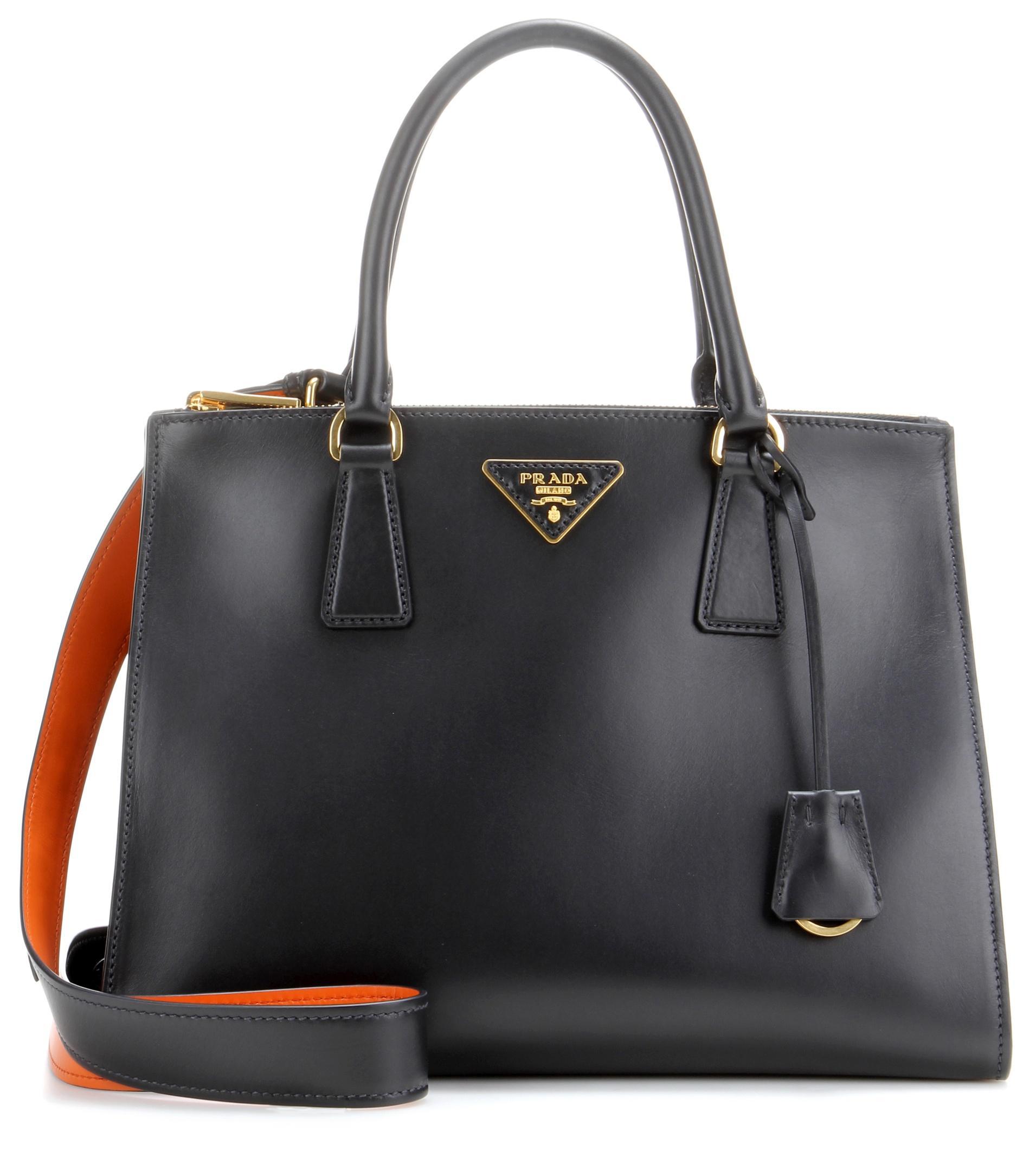 prada galleria leather handbag in black lyst. Black Bedroom Furniture Sets. Home Design Ideas