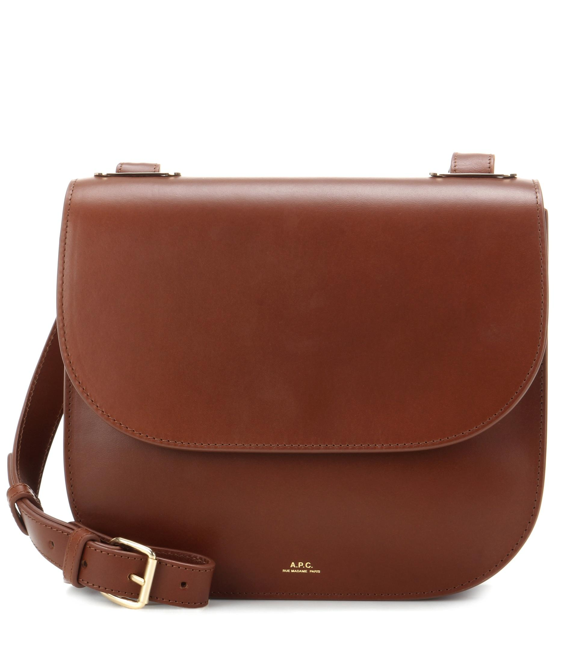 A.p.c. Christie Leather Shoulder Bag in Brown