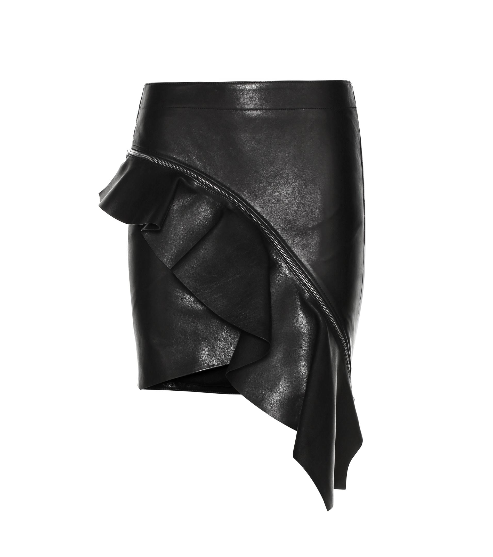 laurent asymmetric leather skirt in black lyst