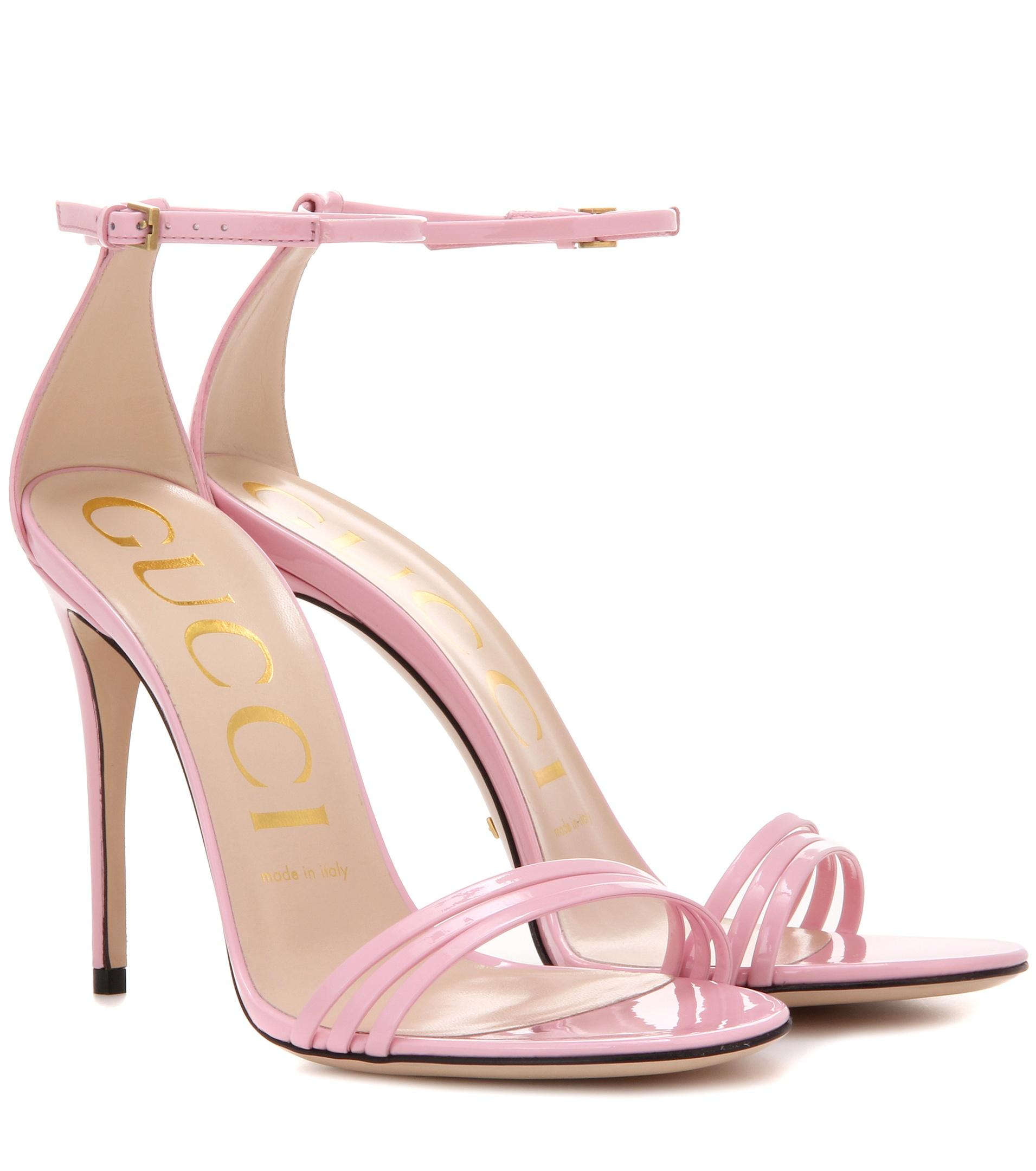 476284ddb5b8 Gucci Patent Leather Sandals in Pink - Lyst
